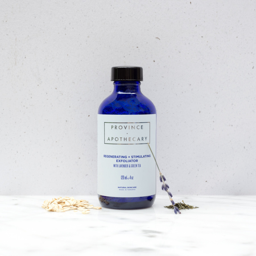 Province Apothecary's dry Regenerating + Stimulating exfoliator with Lavender & Green Tea is perfect for all skin types, working to gently exfoliate and hydrate your skin.  Photo source:    provinceapothecary.ca .
