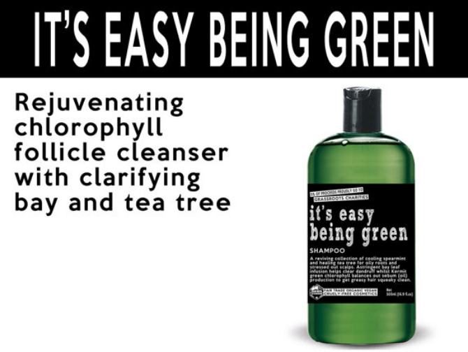 It's Easy Being Green Shampoo from SUDSATORIUM is a reviving collection of cooling spearmint and healing tea tree for oily roots and stressed out scalps.  Photo source: www.sudsatorium.com.
