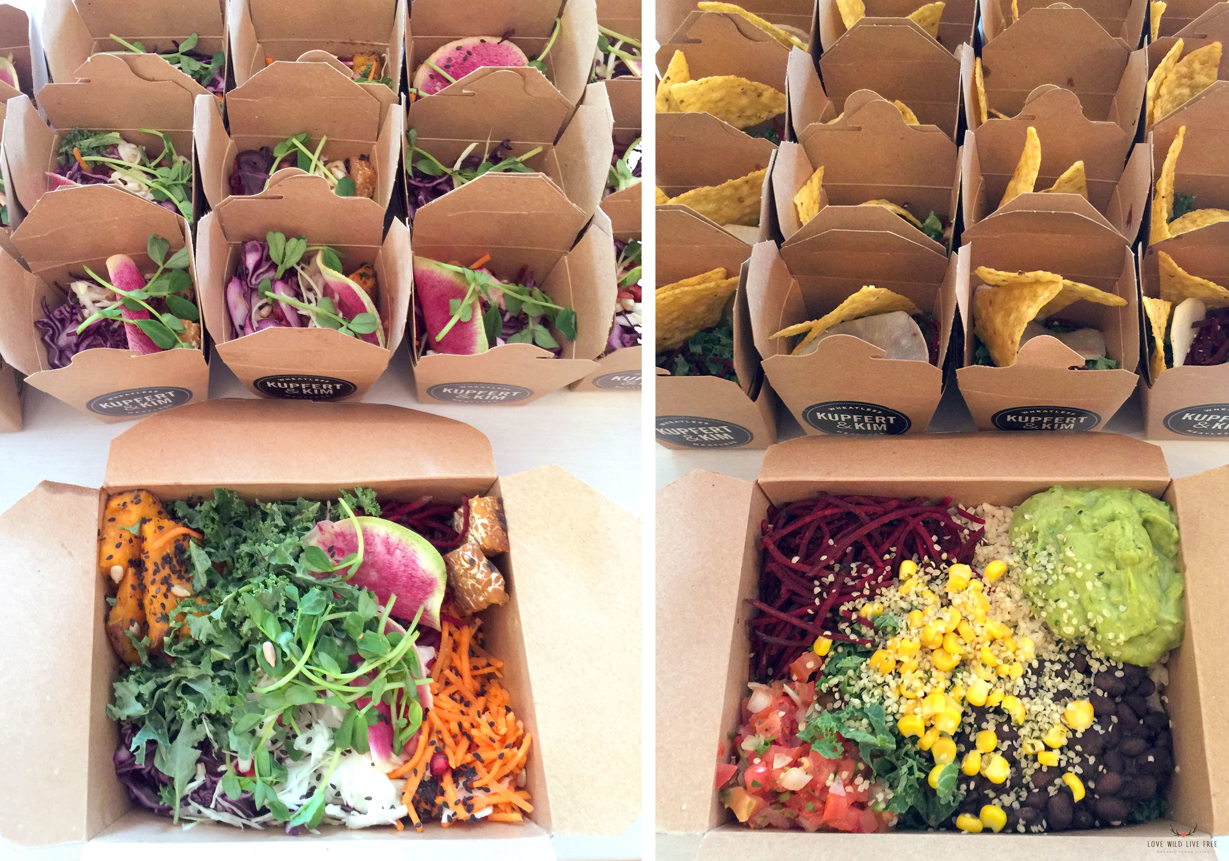 Kupfert and Kim : On the left, First Canadian Place (organic quinoa, organic tempeh, organic kale, roasted yam, pomegranate, beets, carrots, rainbow radish, purple cabbage, organic sprouts, sunflower and sesame seeds with maple chia sauce) and on the right, Oaxaca (brown rice, black beans, organic kale, beets, non-GMO corn, daikon, hemp seeds, organic tortilla chips, lime wedge with pico de gallo, guacamole and cashew cream.  Photo by: Love Wild Live Free.