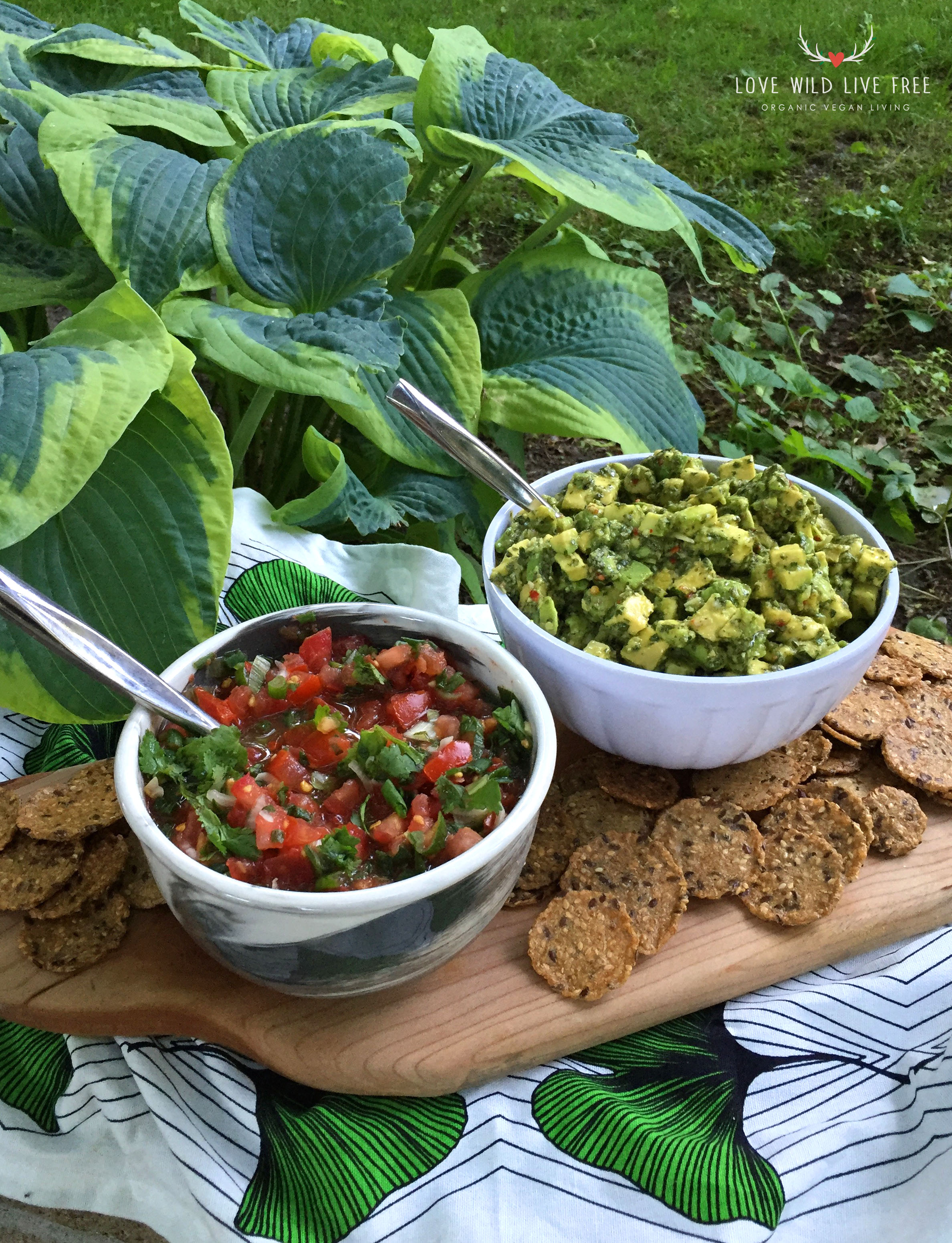 This Raw Vegan Avocado Chimi from Unbaked Cake Co. pairs nicely with my Fresh and Raw Tomato Salsa! Get the recipe  here .  Photo by Love Wild Live Free.