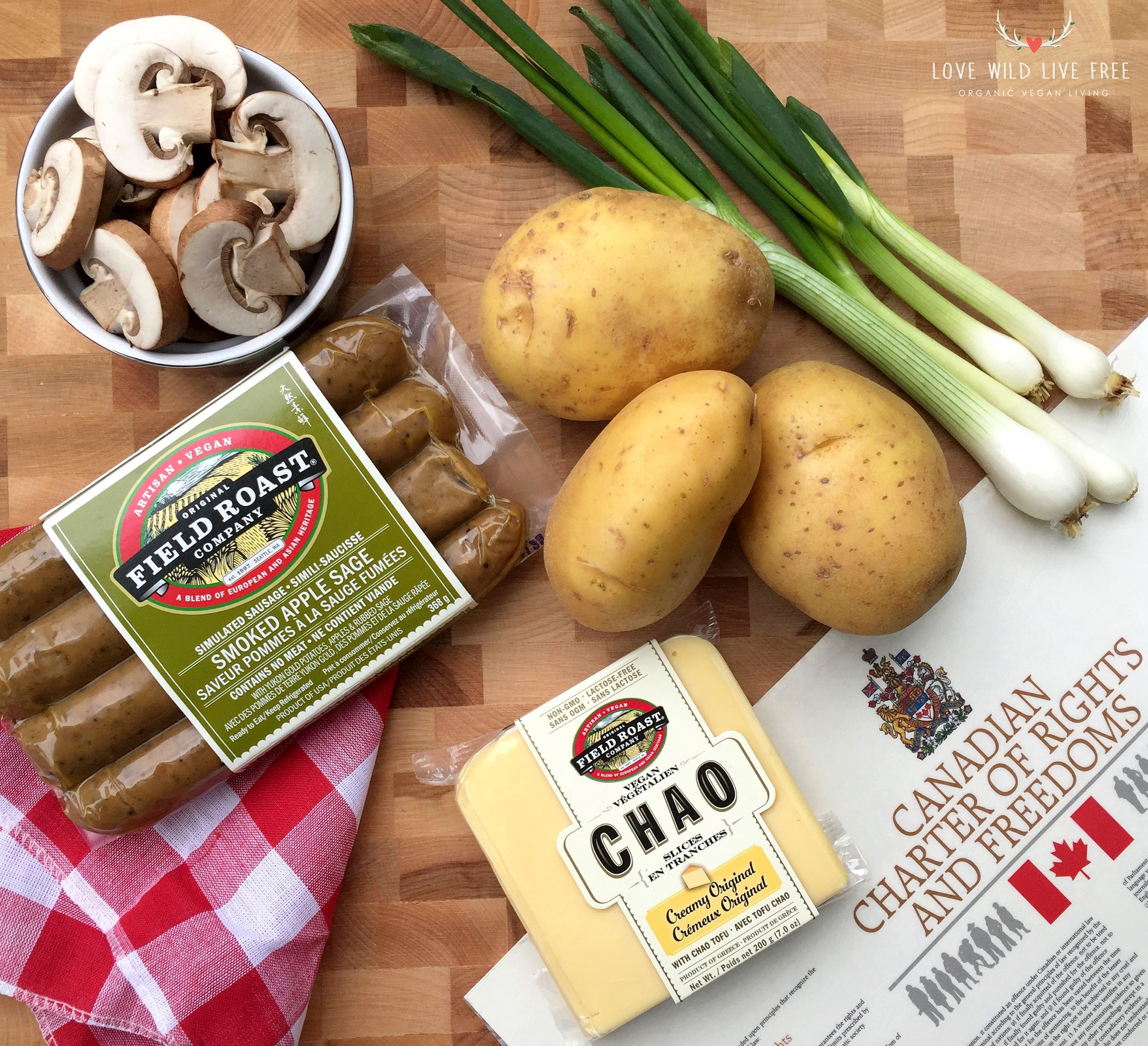 For my Vegan Poutine Recipe I've used Field Roast Creamy Original Chao Cheese and Smoked Apple Sage vegetarian grain meat sausage. Photo by Love Wild Live Free.