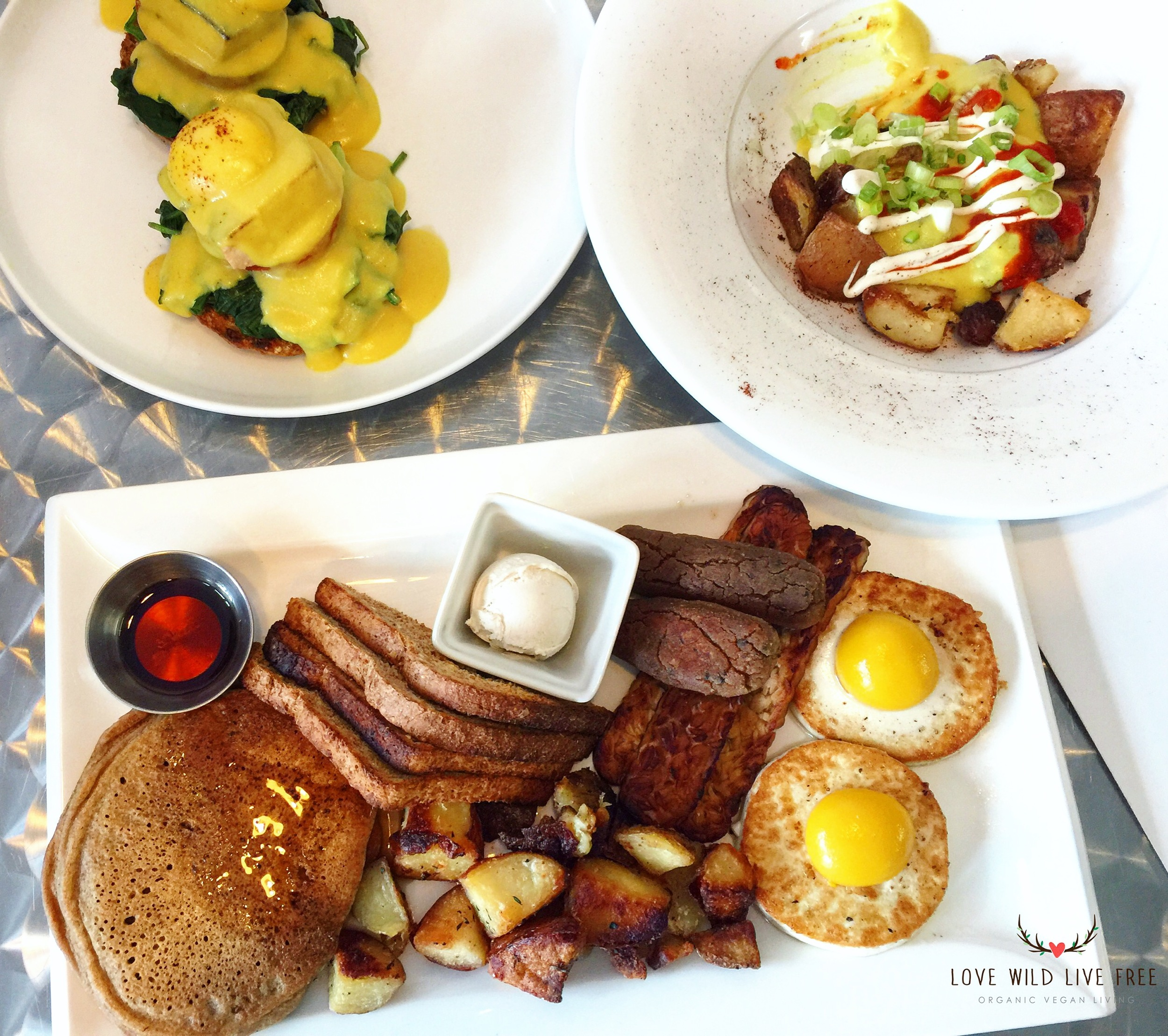 One of my favourite spots in Toronto for Vegan Brunch is  Doug McNish's Public Kitchen . Everything on the menu is plant-based and made with organic, local ingredients. Pictured above:Public Kitchen Slam (bottom centre) with sunny side up vegan eggs *mind blowing*, fluffy red fife pancakes,tempeh bacon, black eyed pea breakfast sausages + all of the breakfast fixings;Vegan Benedict (top left) on sprouted grain english muffins, seared smoky sprouted tofu, runny soft poached vegan egg yolk and hollandaise sauce;Loaded Breakfast Potatoes (top right).