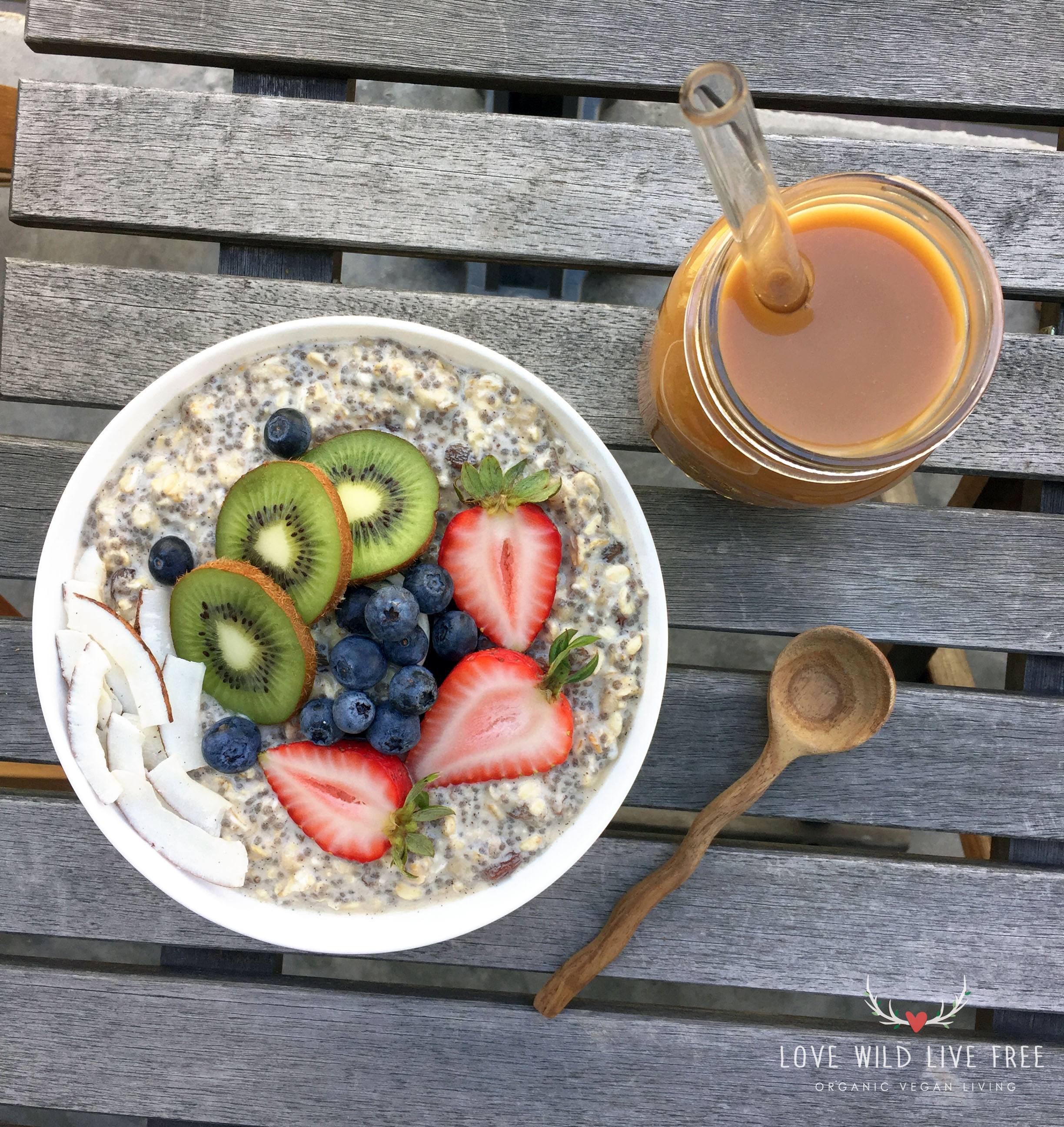 Vanilla-Cinnamon Overnight Oats are an easy to make grab-and-go breakfast. Also pictured above, local Toronto  Hatch Cold Brew Coffee  with  The Chufa Co.  tigernut milk.  Photo by Love Wild Live Free.