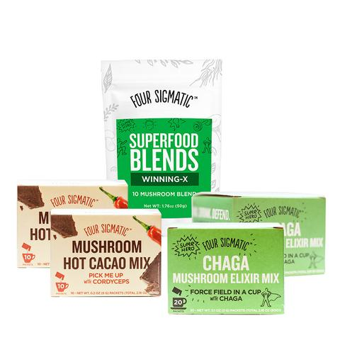 Four Sigmatic   Immunity Bundle with Hot Cocoa with Cordyceps, Chaga Mushroom Elixir Mix and Superfood Blends Winning-X.  Image courtesy of Four Sigmatic.