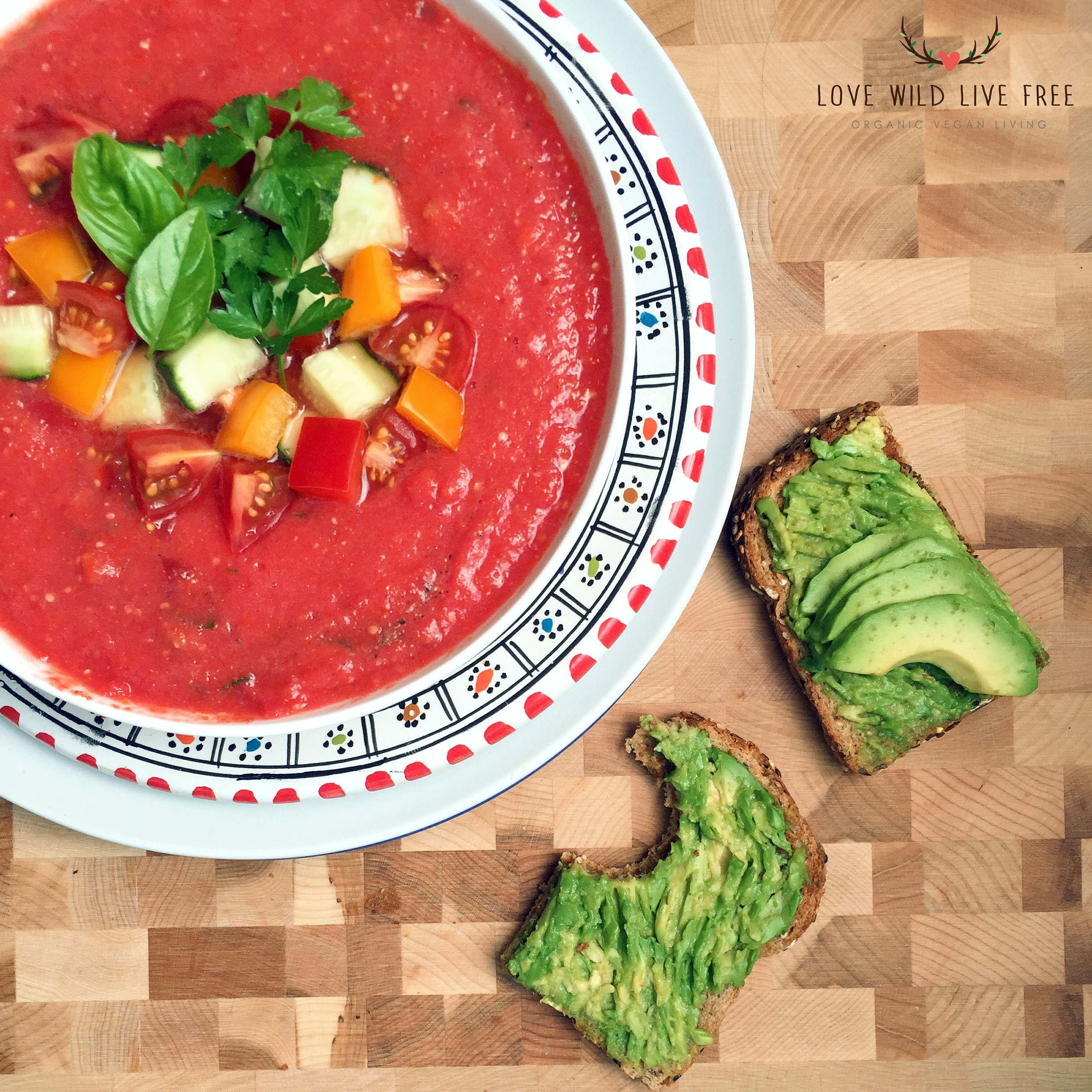 This raw gazpacho is simple to make, refreshing and delicious. This soup travels well, and would be perfect to make ahead of time for lunch on the go, or a picnic in the park. As long as you have an ice pack or refrigeration available you are all set!
