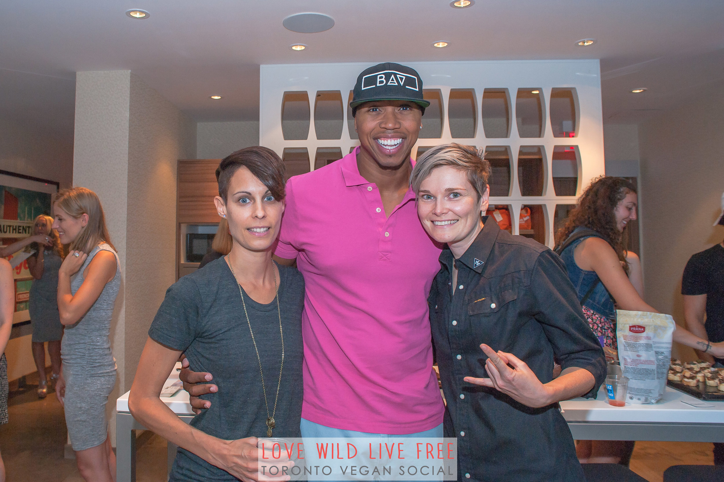 Love Wild Live Free Vegan Social 2016. From left:Anne-Marie Campbell aka the  The Meat Free Athlete ,John Lewis aka the  Bad Ass Vegan and clothing designer Jacky Wasserman of  BEETxBEET . Photo by:   LOF Photography .