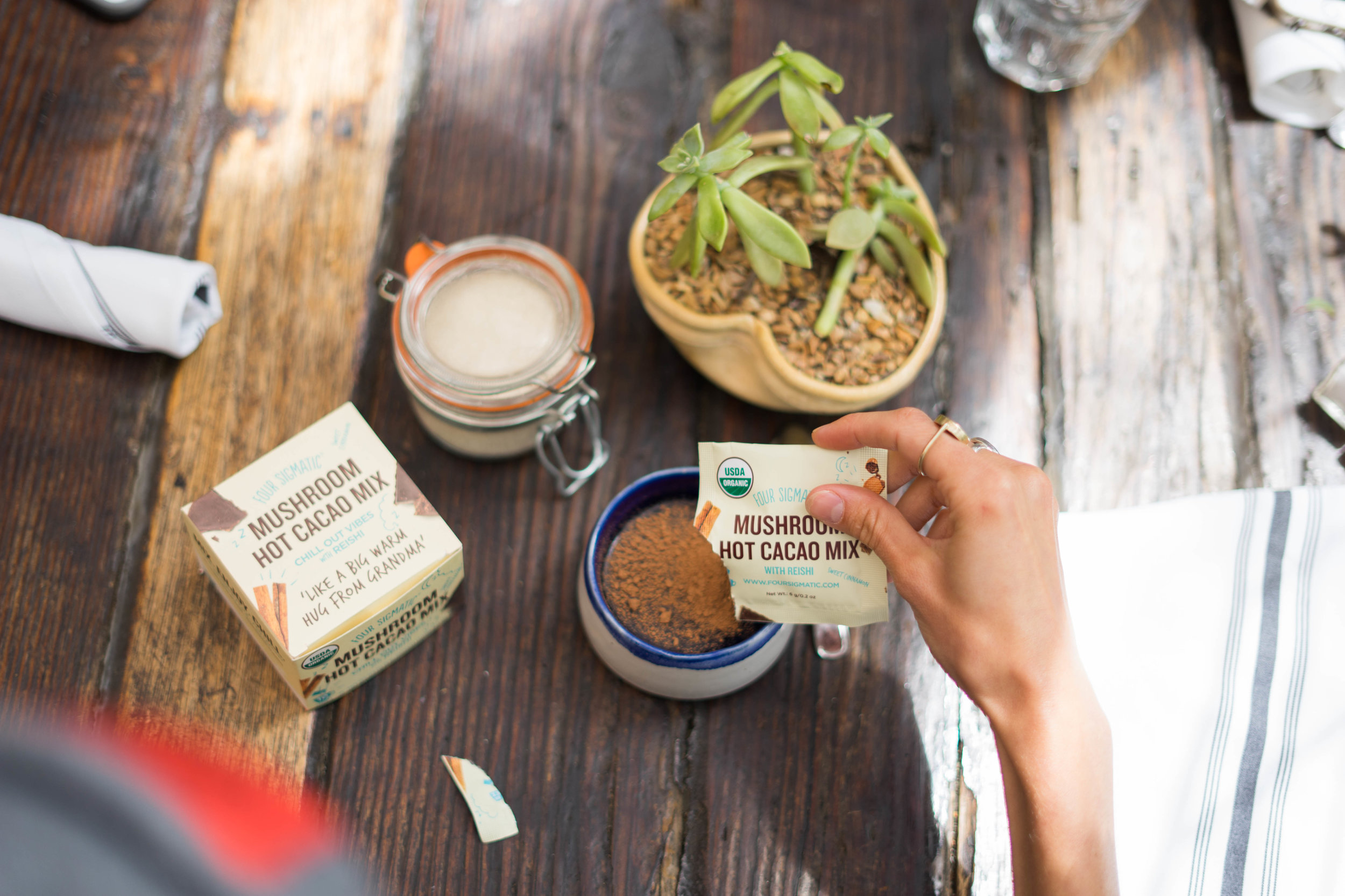 Four Sigmatic's  Mushroom Hot Cacao with Reishi  can be served hot or cold!