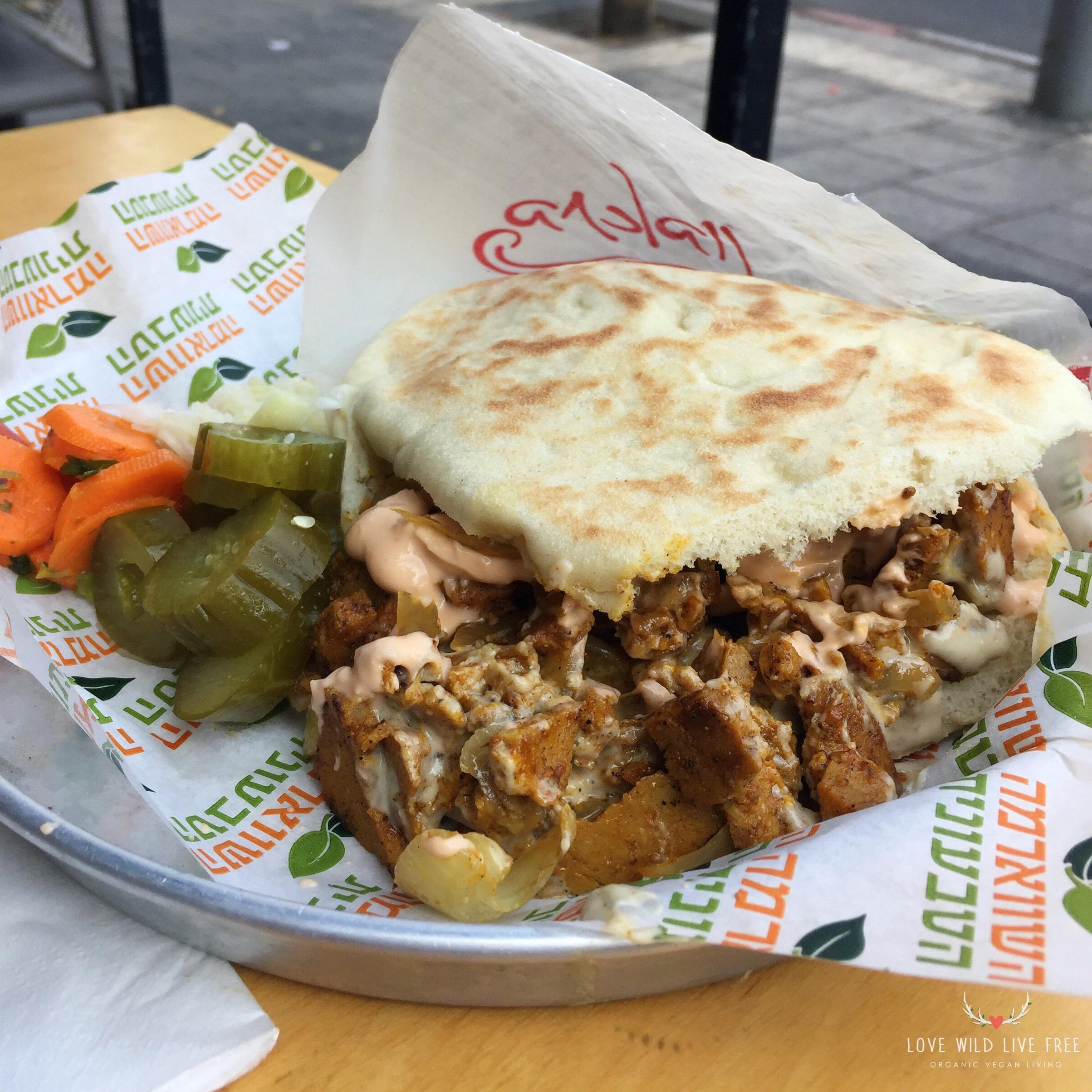 The Vegan Shawarma of my dreams:Seitan-based shawarma done right at The Vegan Shwarma in Tel Aviv.  Photo by Love Wild Live Free.
