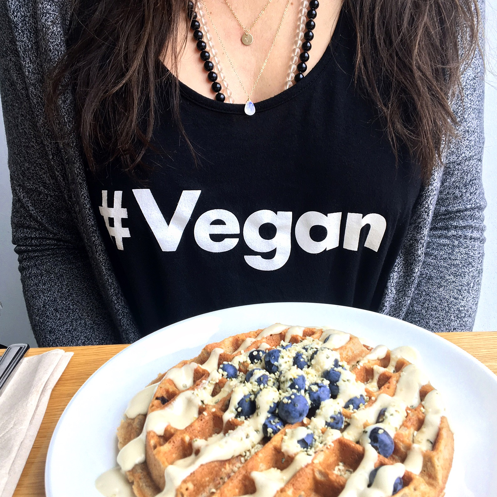 Vegan Waffles + Jewels might be one of the best combinations ever! I've layered the gold-filled gem drop in 14-k fill necklace and 'v' disc 14k gold necklace (which can be customized with your initial!) by  Jewels by SJB .