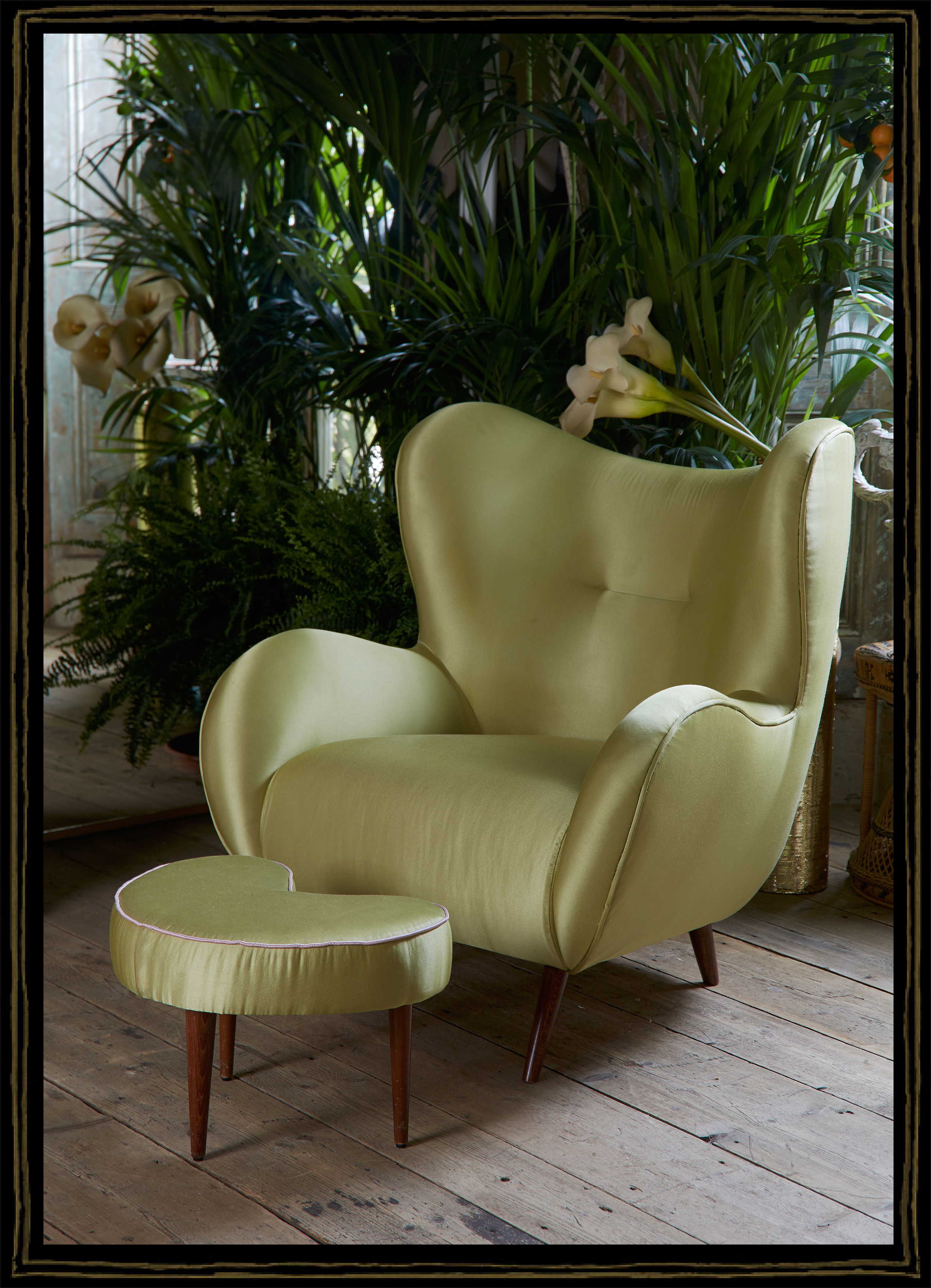 'Fire Monkey' collection, inspired  by 1950's sofa set, shown in light green satin