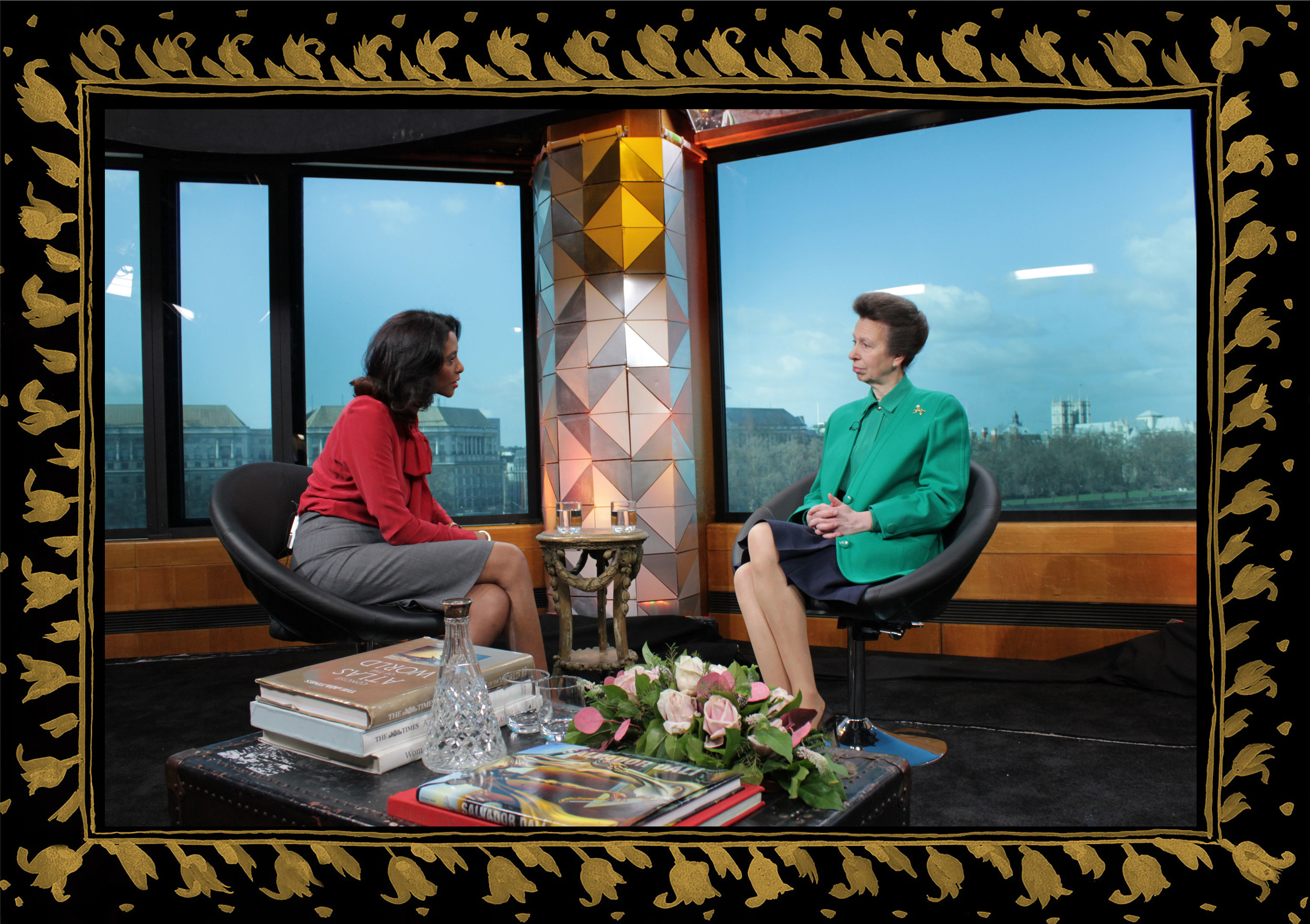Sera of London set design for Zeinab Badawi BBC London, Princess Anne