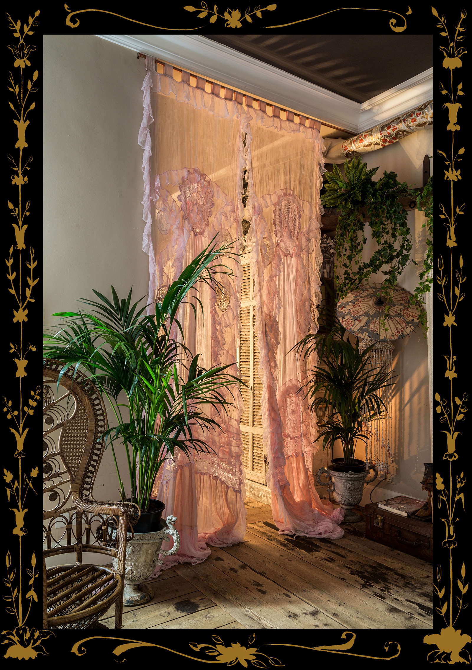 The House Gowns are designed as architectural pieces for your home. They can be used on windows or to replace doors and indeed walls to divide rooms and around Ones bed suspended from the ceiling like a Four poster Bed without the need for posts.  These have been designed so one can live in a free-flowing romantic space. Each Gown is handmade with love using muslin appliquéd with vintage lace, then hand-dyed to vintage colours. They are Bohemian, Seductive, exquisite and mysterious.  House Gowns are made to order to any size.