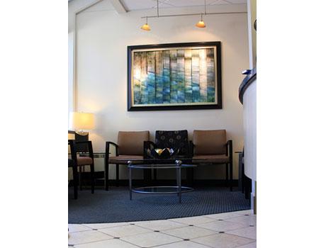 The waiting room at David Tobias Dental.