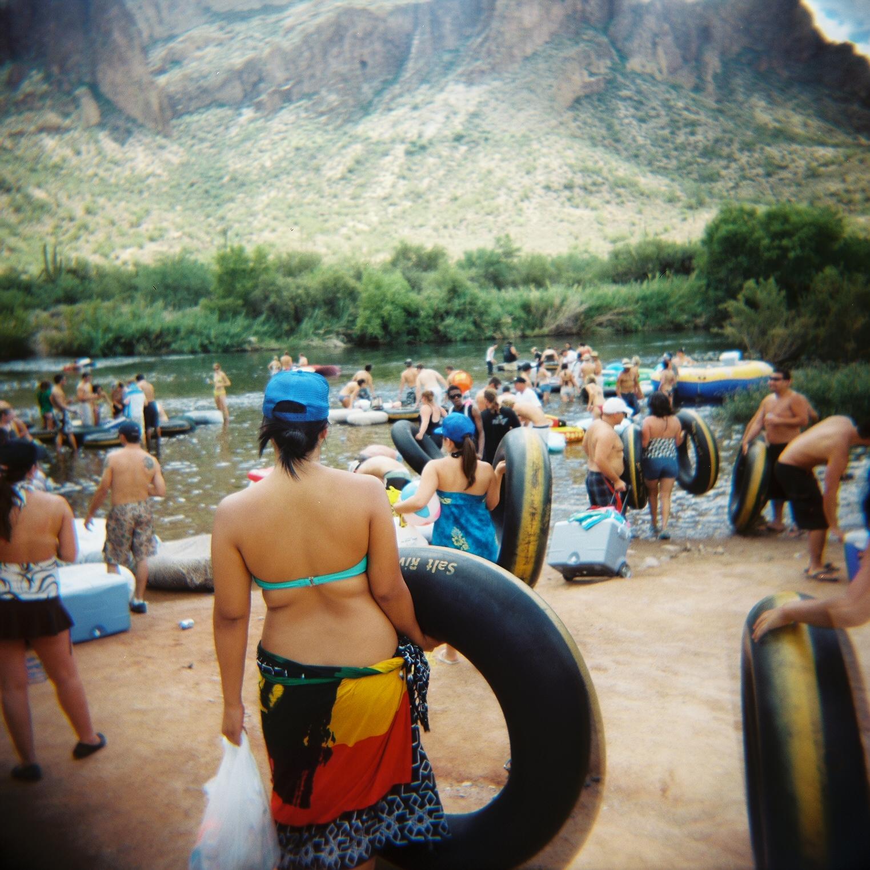 Tubing in the Salt River in Mesa, Arizona; shot with Holga 120 CFN
