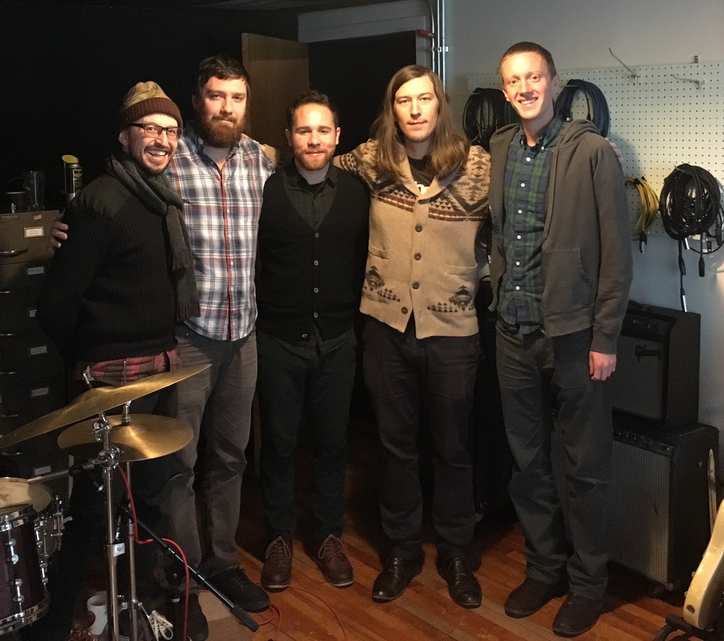 (L-R) Nick Broste (engineer), Neil Hemphill (dr), myself, Matt Ulery (bass), and Artie Black at the end of our two days of tracking at Minbal Studios in Chicago. (December 13 - 14, 2016)