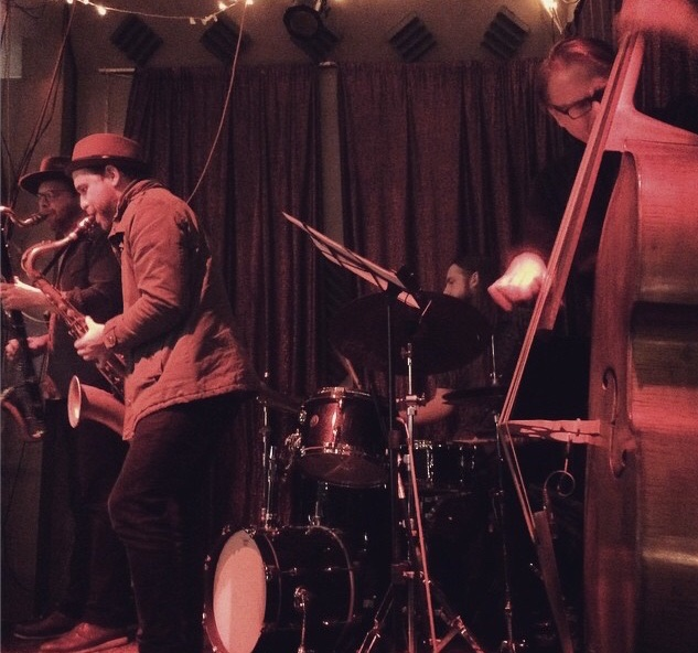 with Jason Stein (bass clarinet), Jason Roebke (bass), and Quin Kirchner (drums) at Cafe Mustache's Ratchet Series curated by Nick Mazzarella.