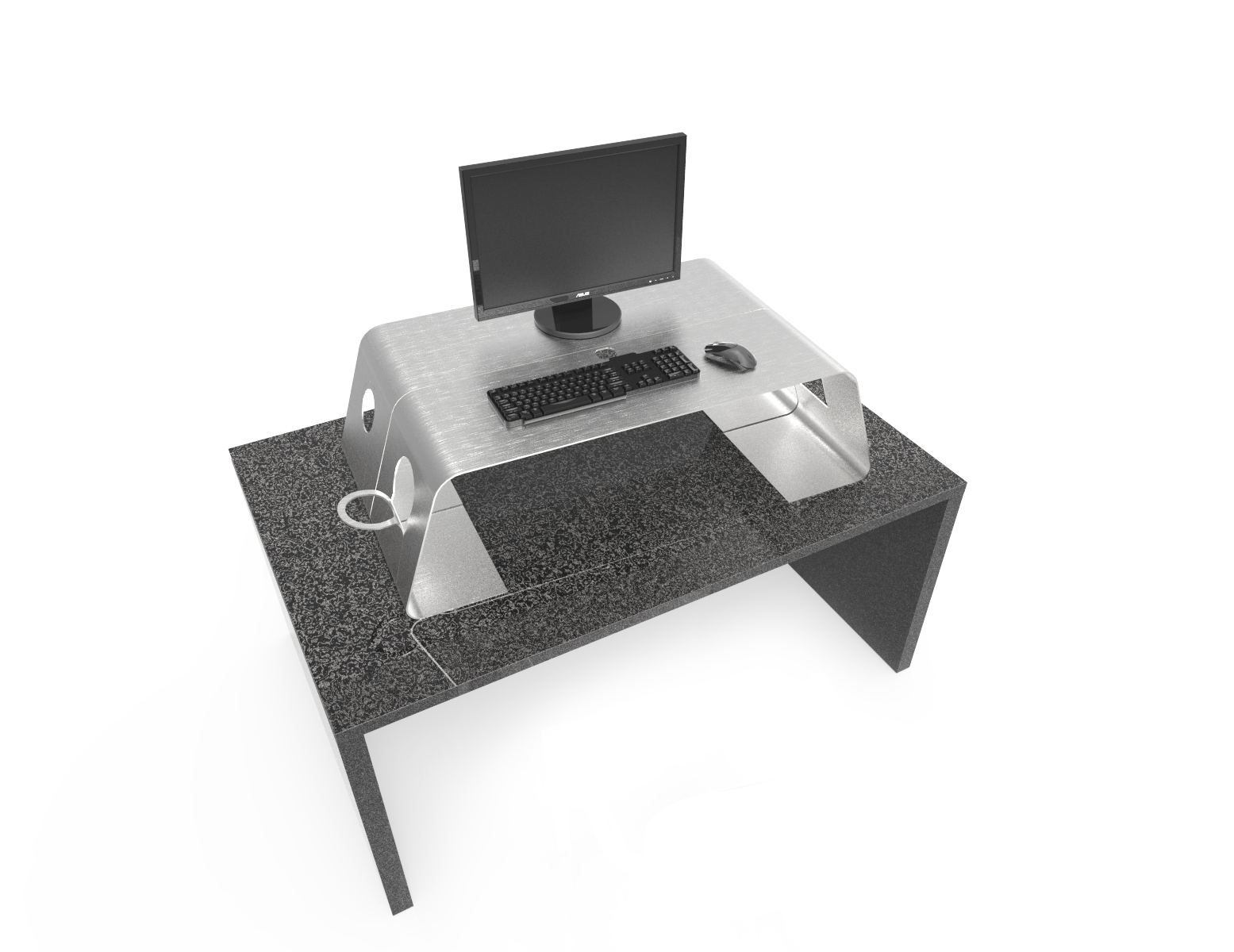 Bent Metal Desktop Riser Concept