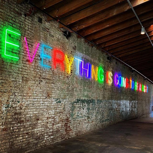 """Happy Pride!🌈💖✨ Remember that YOU have been handmade to be one of a kind! - Love, Team COMUNITYmade ❤️🧡💛💚💙 #lapride  _ """"Everything is going to be alright"""" art at @hauserwirth"""