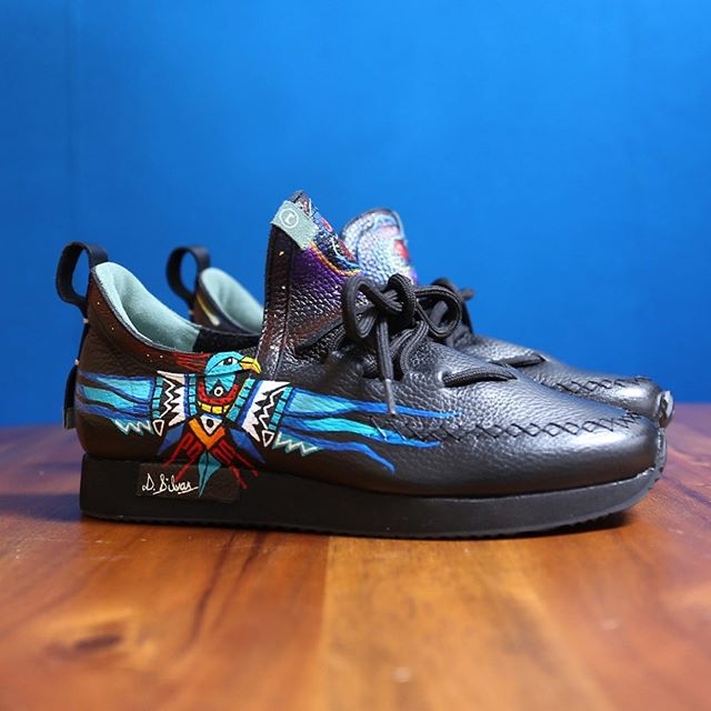 """@artistanova13 has killed it again! He hand-painted these custom art shoes for a customer using Native American and galaxy inspired motifs.  Request your own custom art shoes by going online, selecting a pair of COMUNITYmade shoes in your desired style, size and color, and adding the """"Art Shoe Upcharge"""" which you can find under both the Custom Shoes and Accessories tabs to your cart. We'll call or email to follow-up with details and make sure we have the correct size shoe for you before the artist starts painting. Then, in just a few weeks, you can enjoy a unique, artistic creation on your feet!"""