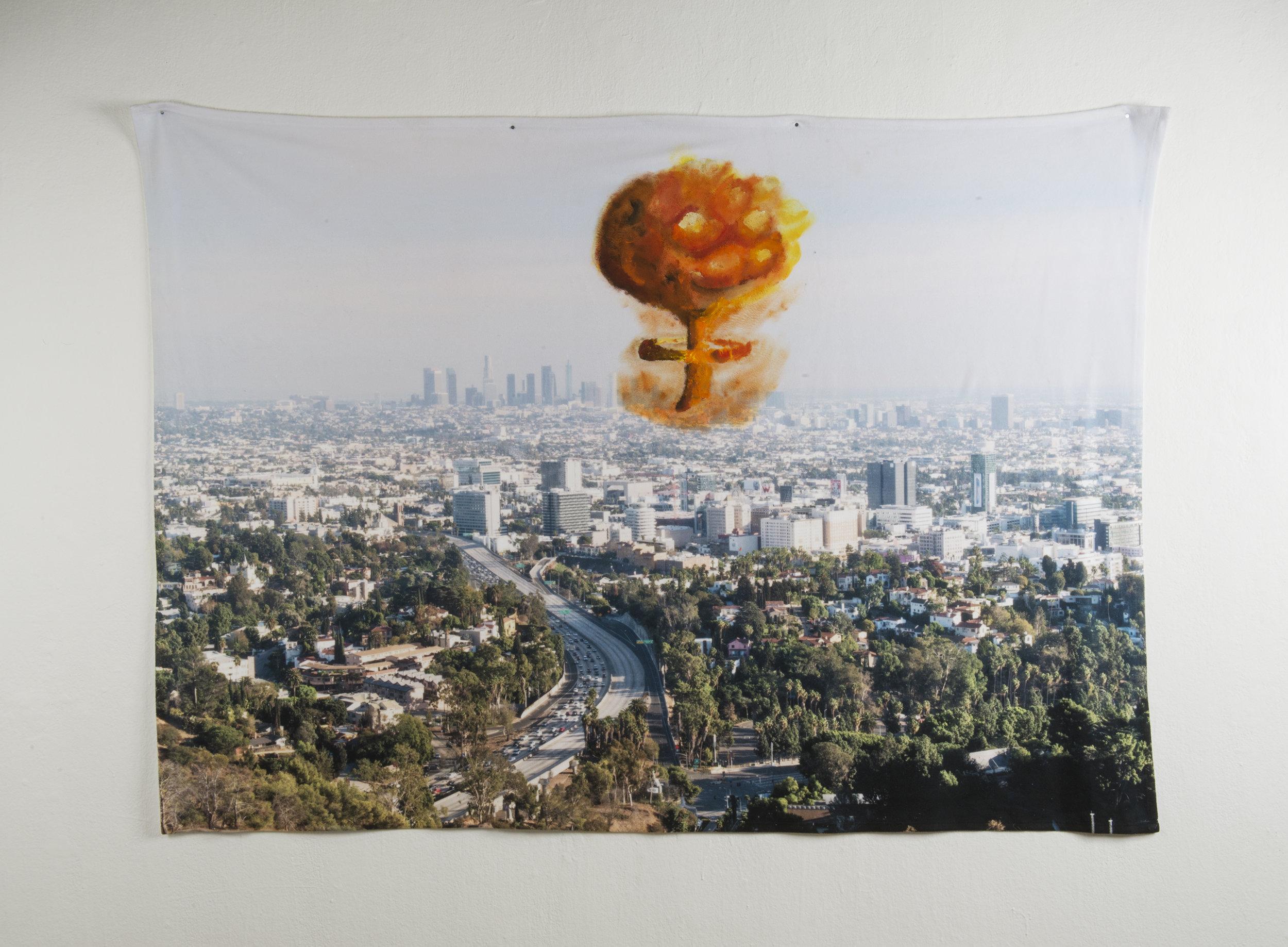 Disaster Scene #2 , 80in x 60in, Acrylic on Fleece.