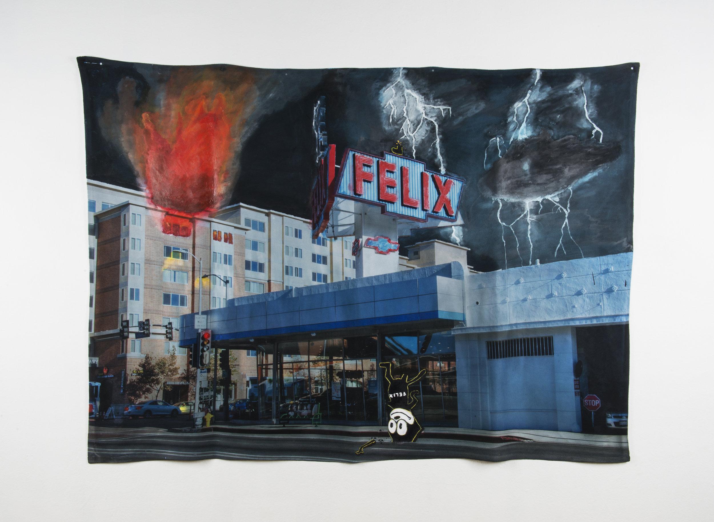 Disaster Scene #1 , 80in x 60in, Acrylic on Fleece.