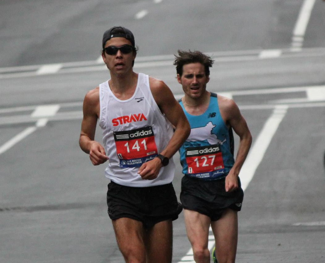 Matt Lenehan heads towards the finish line in Boston, where he earned 33rd place (16th US) in a new personal best of 2:25. The Strava TC men's team took third place overall.