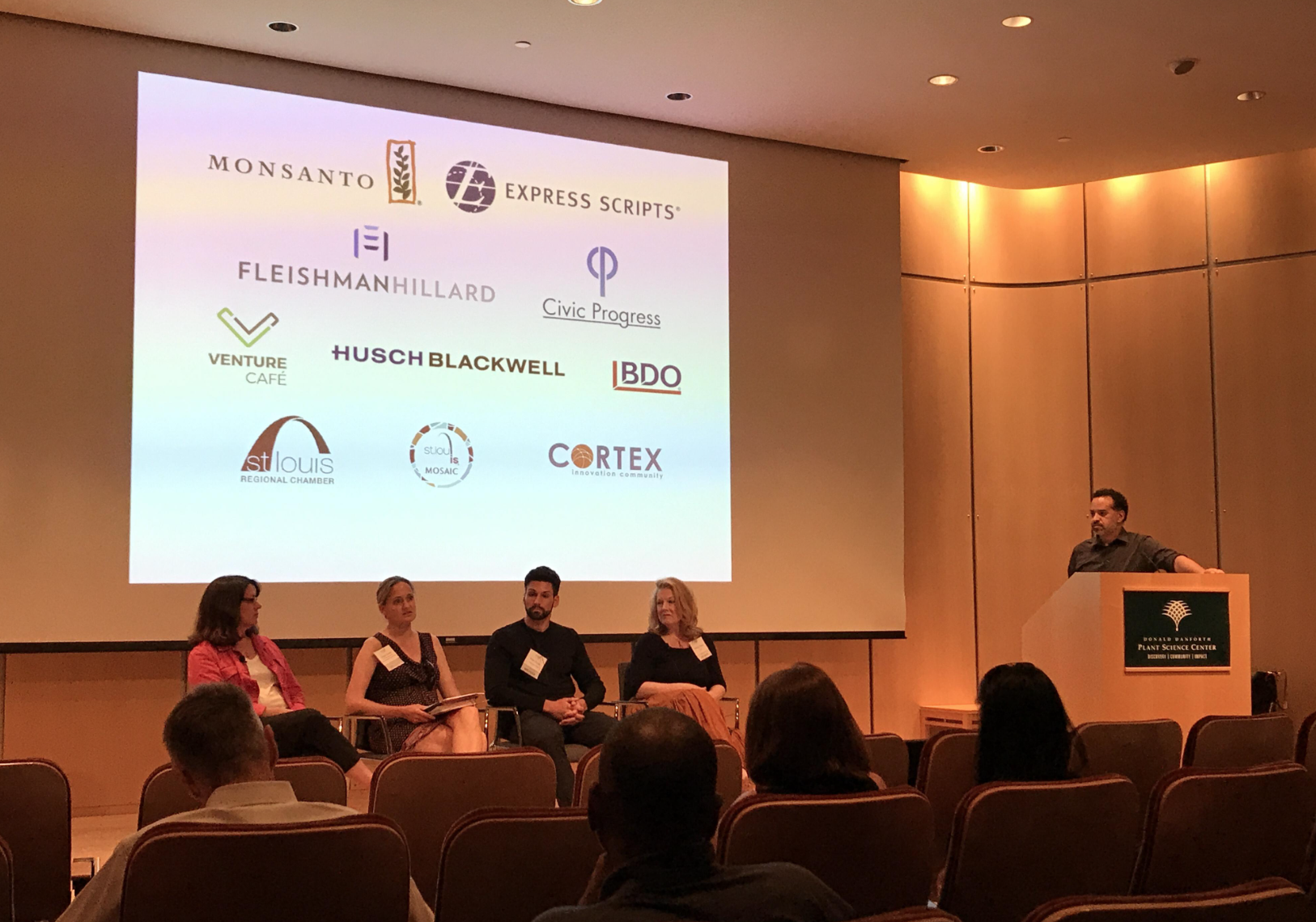 """Travis Sheridan  leads a panel discussion on """"Putting Local Resources Together:Why St. Louis is a great city to start a company.""""He was joined by  Ginger Imster ,  Phyllis Ellison ,  Brian Dixon , and  Patricia Hagen, PhD ."""
