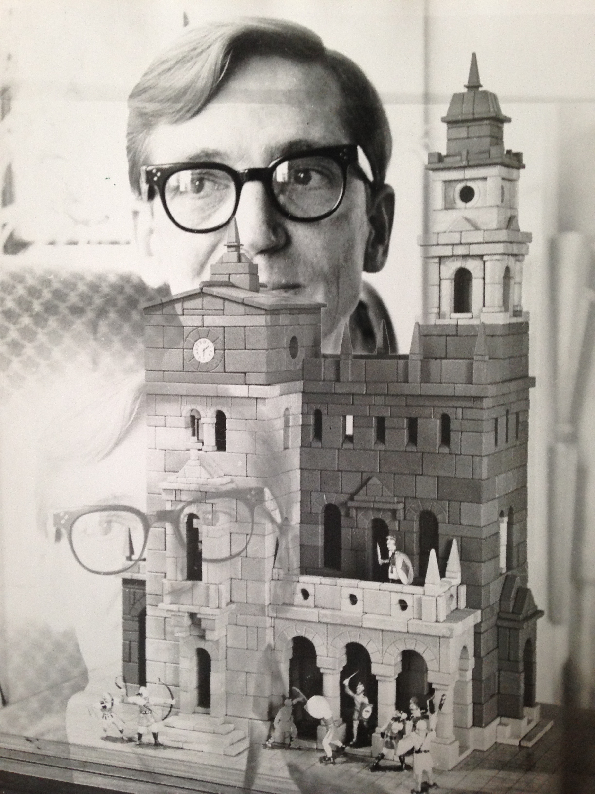 An accidental double exposure: my father, about age 45, and one of his stone block buildings