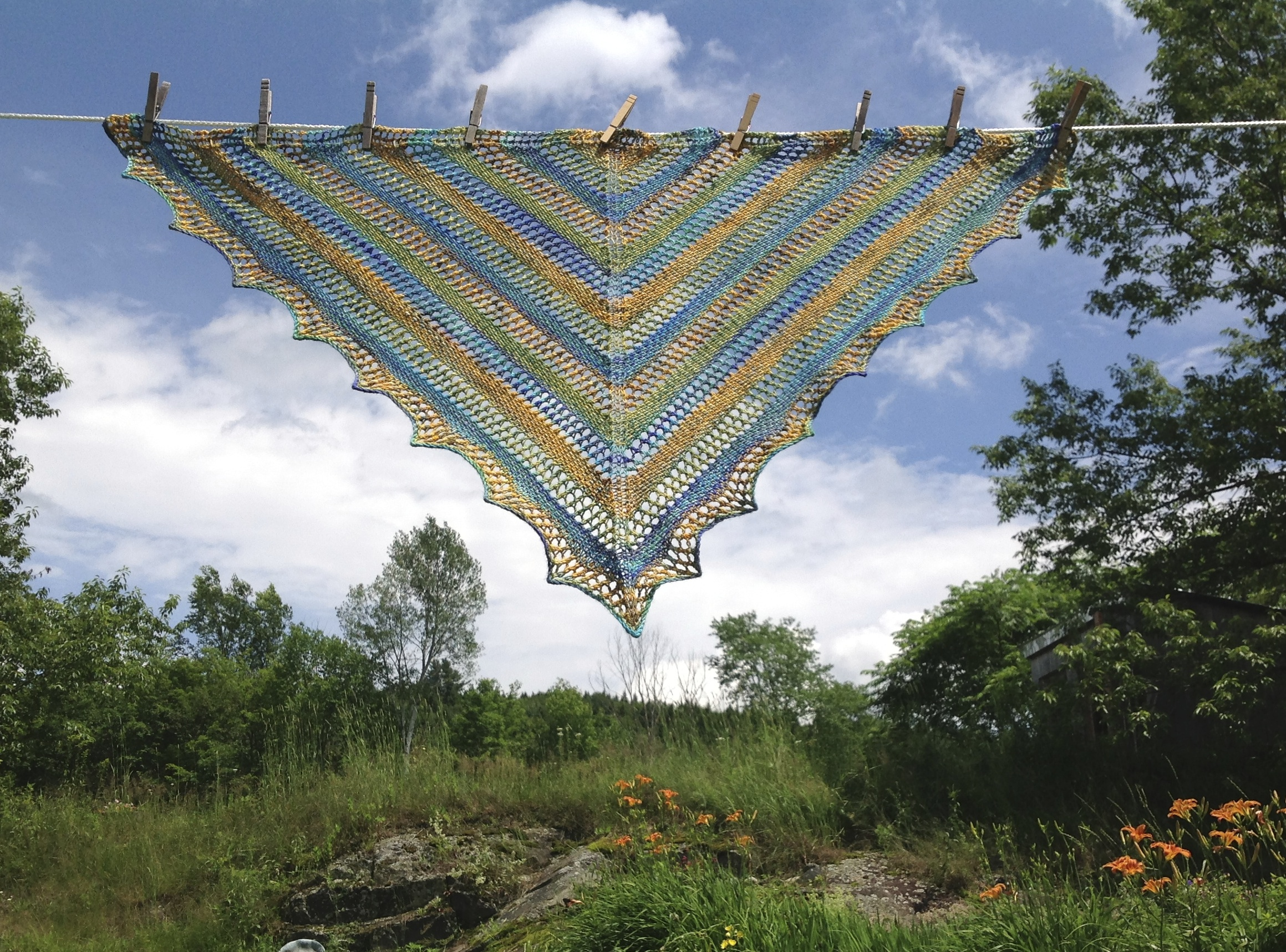 Linen & Lace Shawl, fingering weight version, by India Tresselt, free pattern here