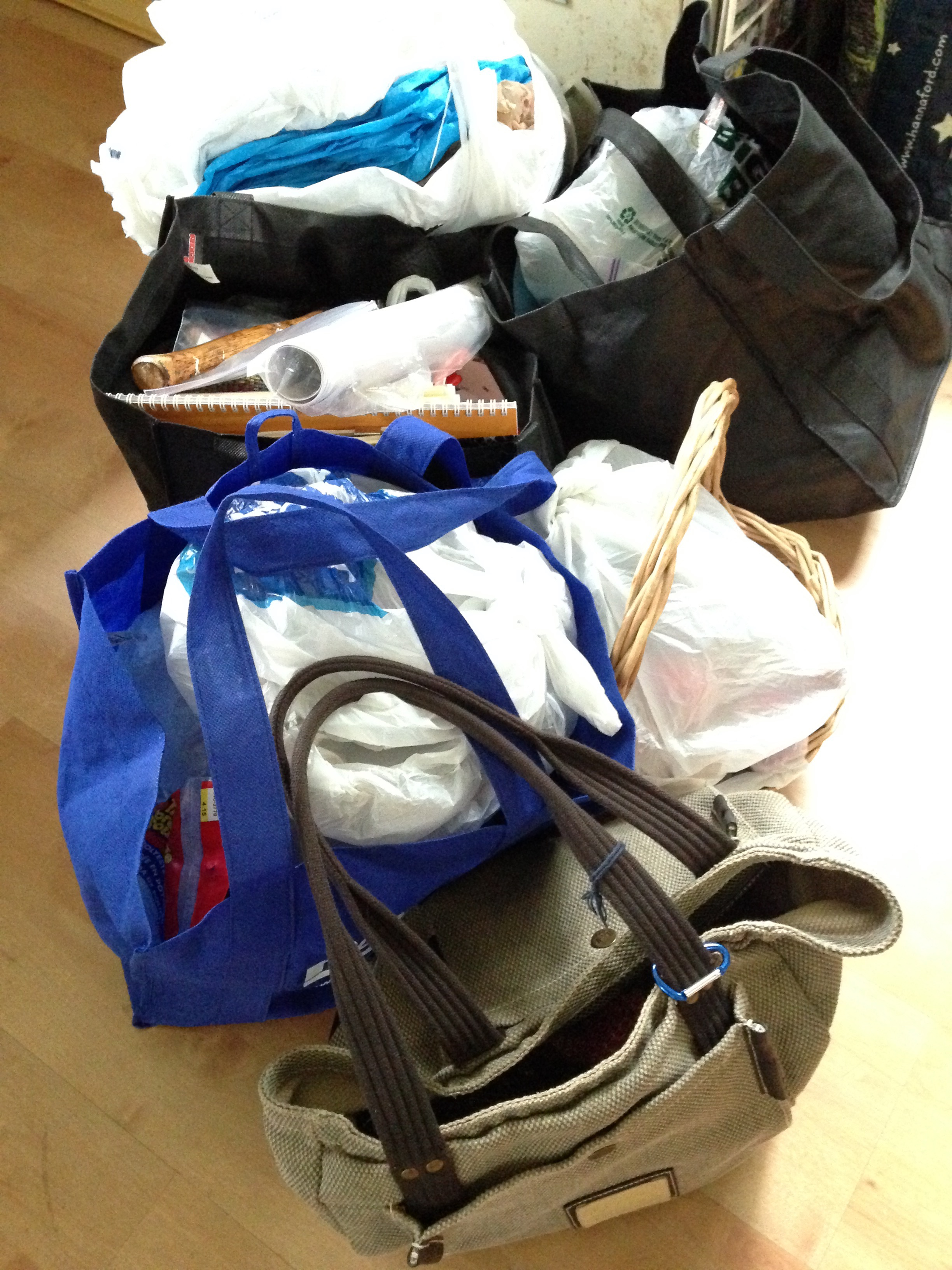 Bags full of temari, handouts, knitting,packaging, bowls and baskets for display, miscellaneous office supplies, knitting patterns, the kitchen sink...