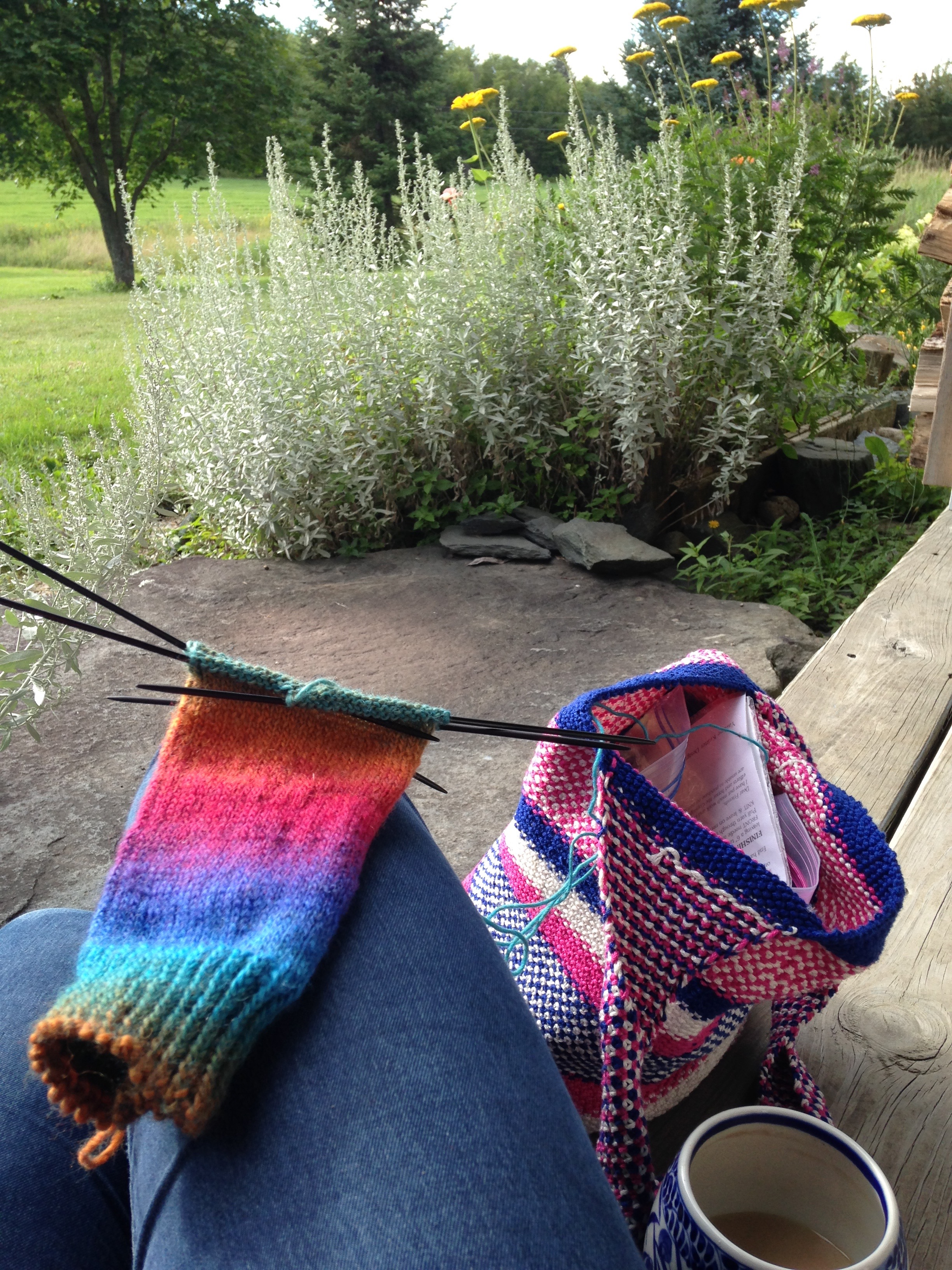 Knitting on the porch, with tea