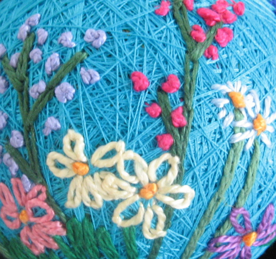 Flower garden temari, detail
