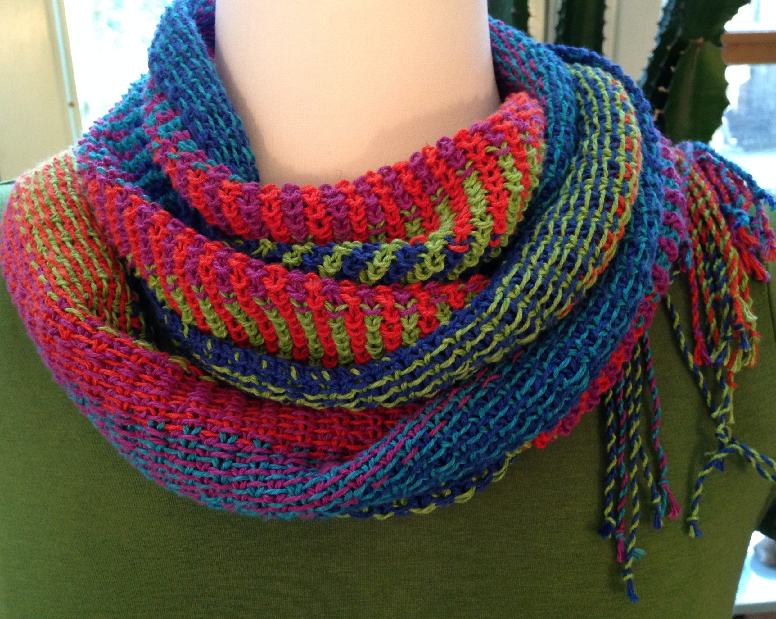Neon Brights Summer Scarf  , free pattern by India Tresselt
