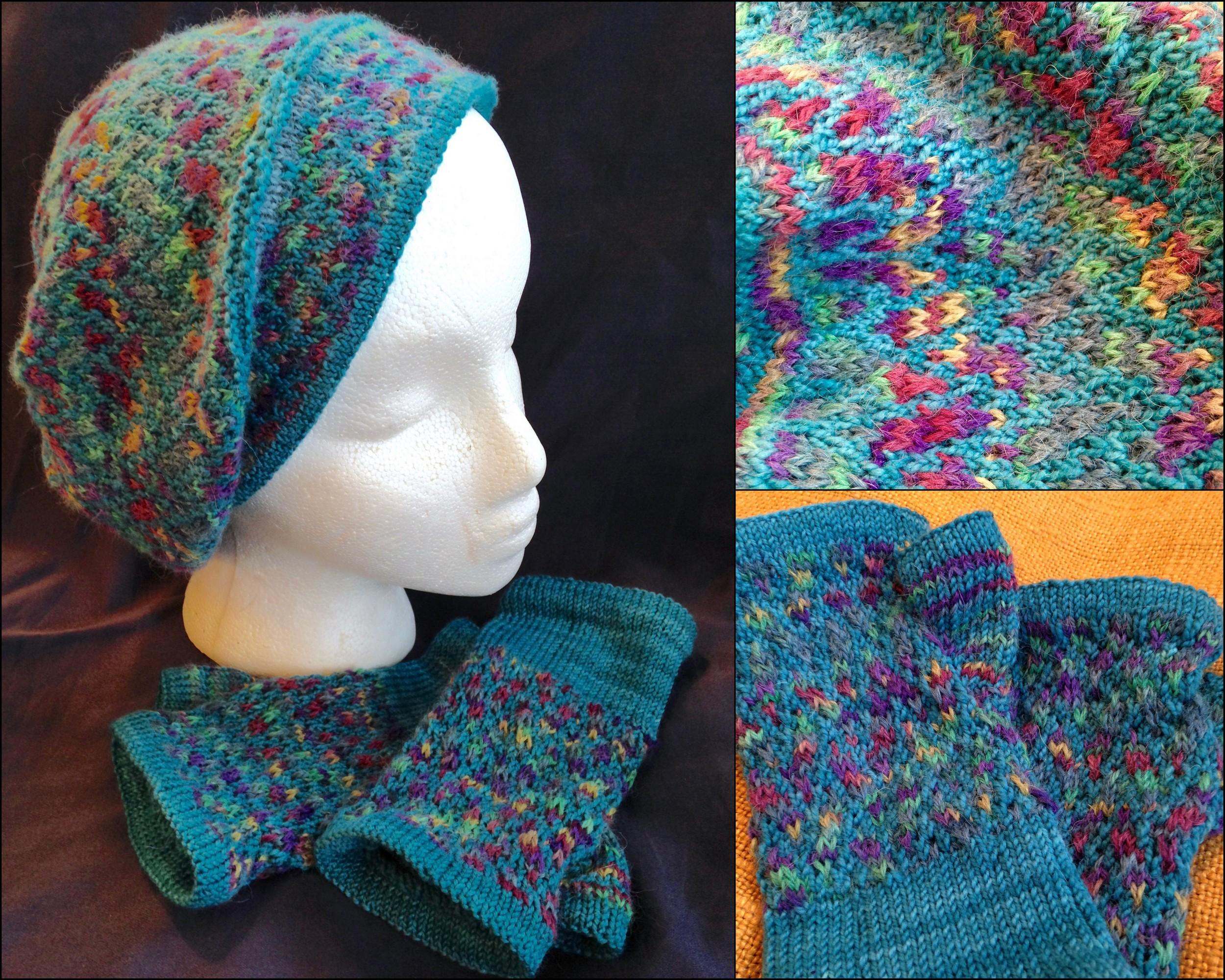 Slightly Slouchy Slip Stitch Mosaic Hat   and   Slip Stitch Mosaic Mitts  , both   f    ree pattern pdf downloads