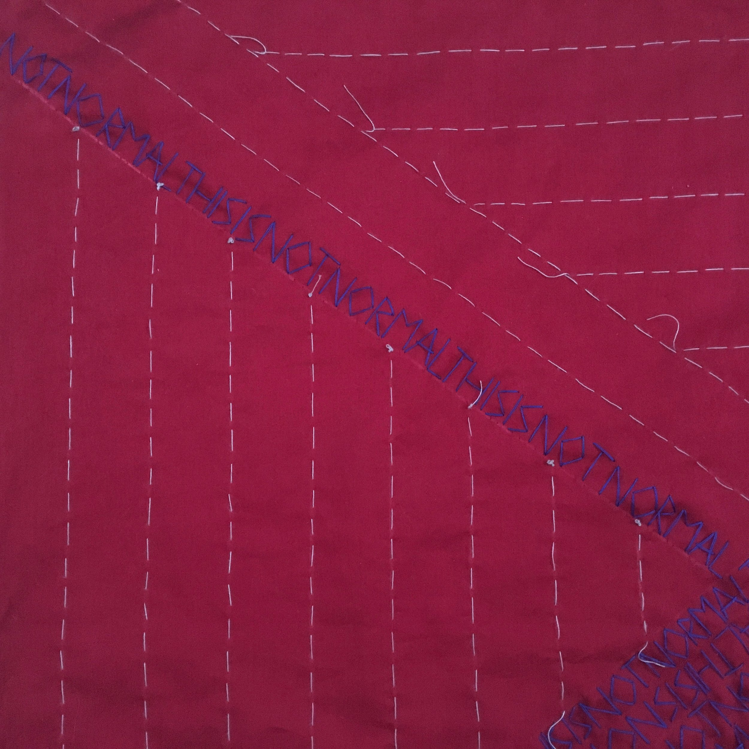 My phone camera can't handle the blue thread on red fabric; even in closeups, the colors vibrate and won't come into focus.