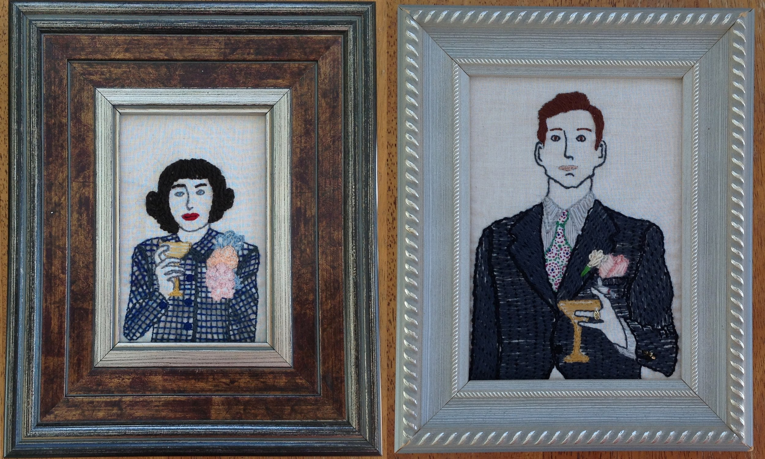 My embroidered interpretation of my parents' wedding photo, 2012
