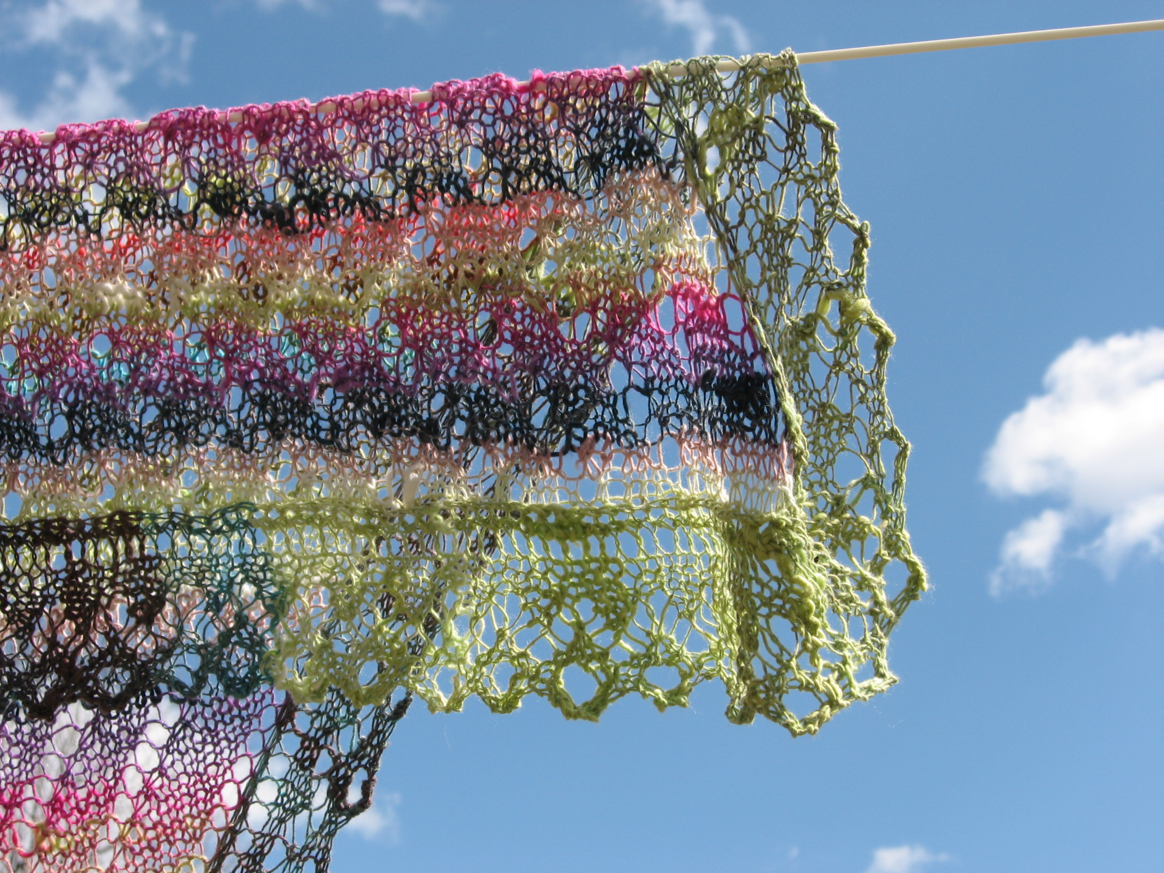 """For Gladys: """"Shoulder Shawl in Syrian Pattern"""" from   Victorian Lace Today  by Jane Sowerby ; yarn is Noro laceweight, maybe Taiyo?--alas, the yarn label is long gone."""