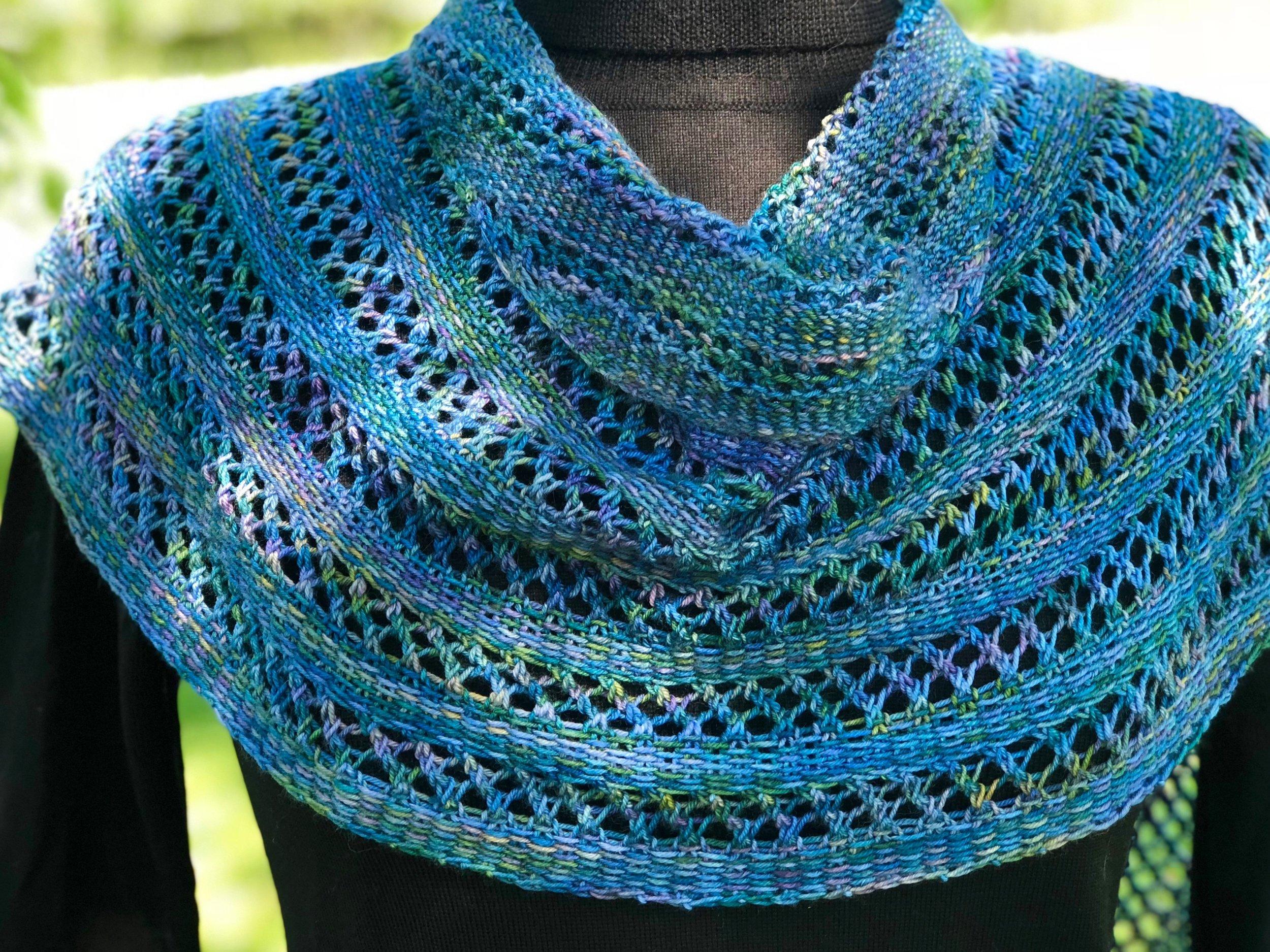 Damselfly. Yarn is   Seven Sisters Arts Meridian  , colorway Damselfly.