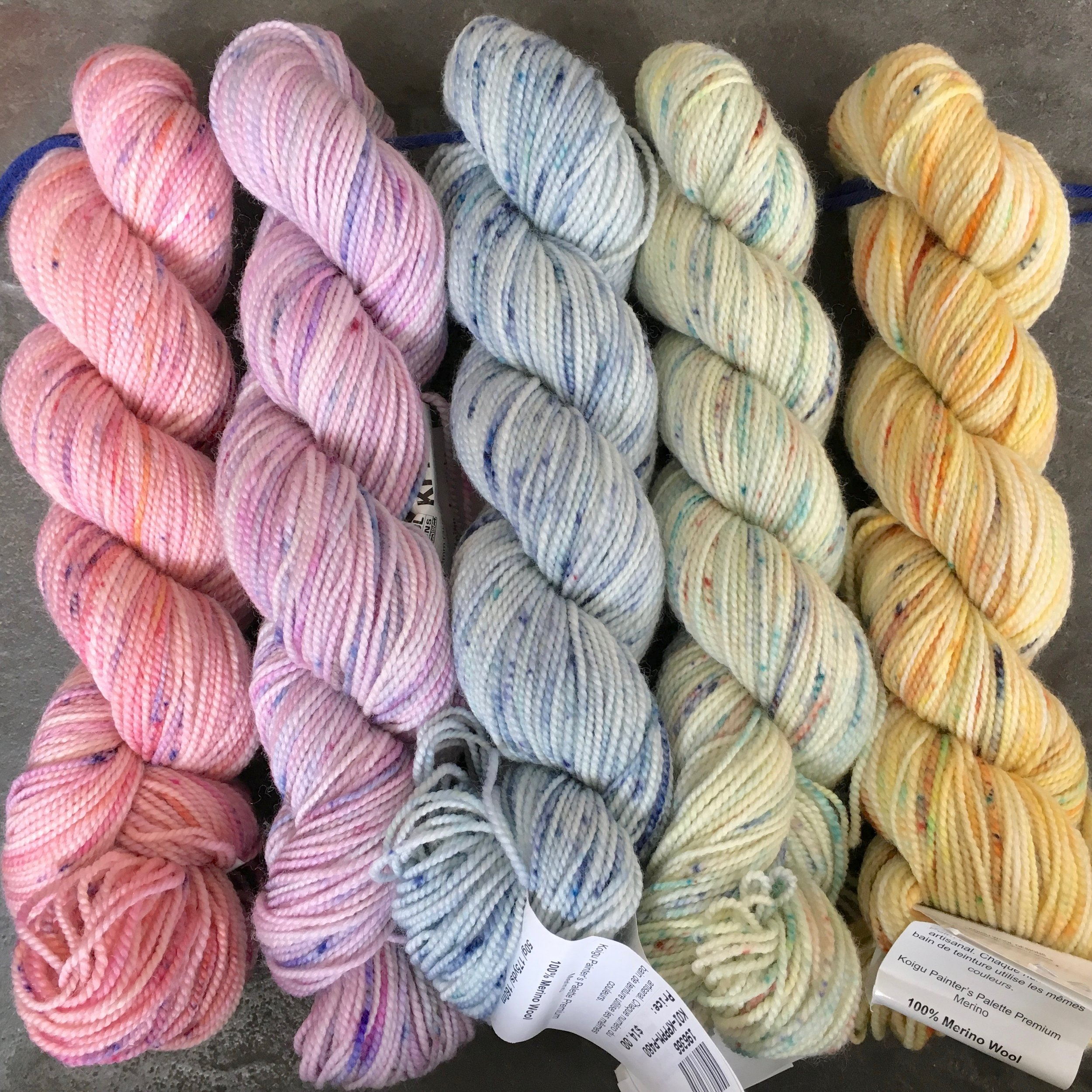 Left to right: colors P204C, 0029 (dyed for Webs), P480, P516, and P344