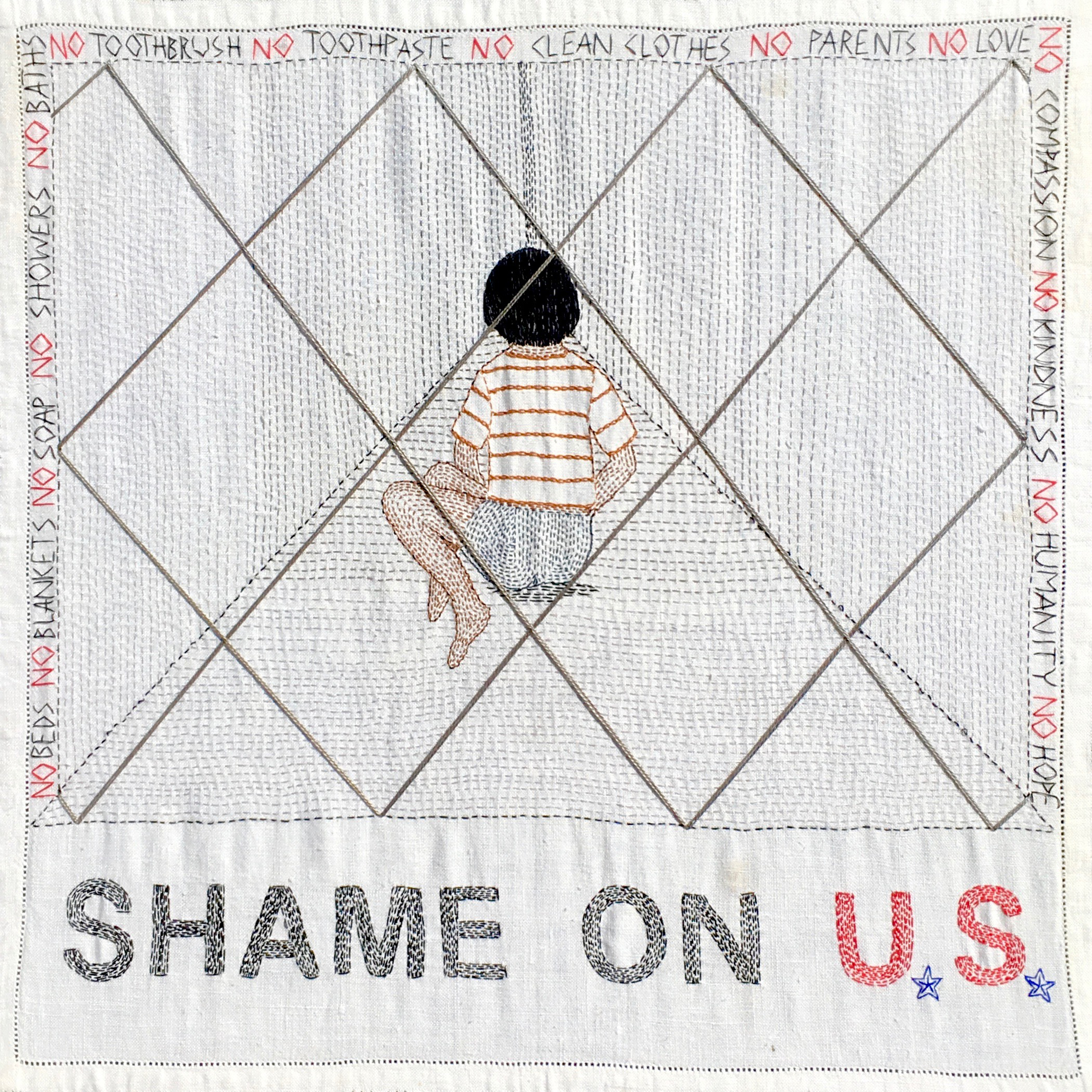 """""""Shame on U.S."""" Hand embroidery on vintage cloth. India Tresselt, 2019"""