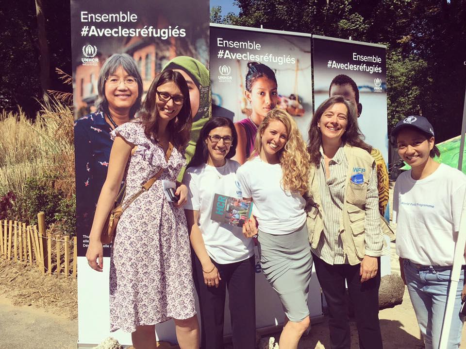 Avec les équipes du UNHCR et du WFP - Céline Schmidtt, porte parole du Haut Commissariat des Réfugiés et Genevieve Wills, Directrice du Programme Alimentaire Mondiale - 18 juin 2017 - Domaine de Longchamp / Fondation Goodplanet de Yann Arthus-Bertrand
