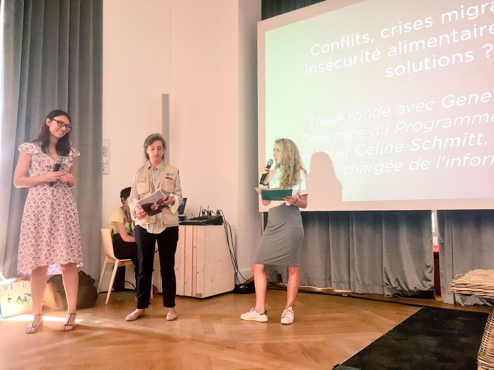 Céline Scmidtt, porte parole du Haut Commissariat des Réfugiés et Genevieve Wills, Directrice du Programme Alimentaire Mondiale