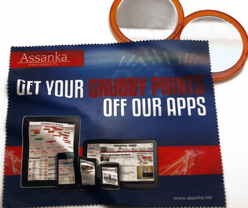 Promoting an app on a branded lens cloth