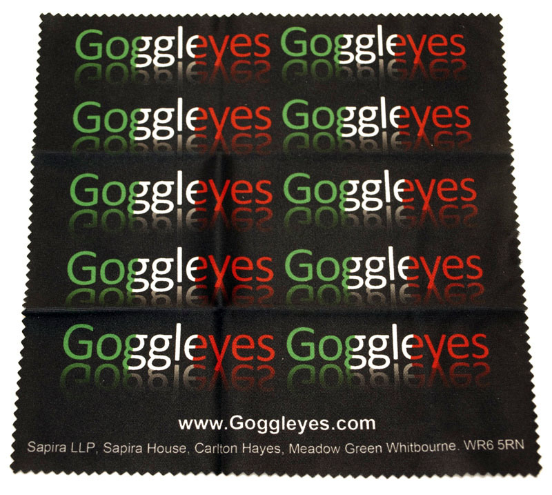 Goggleyes logo repeated on a microfibre cloth