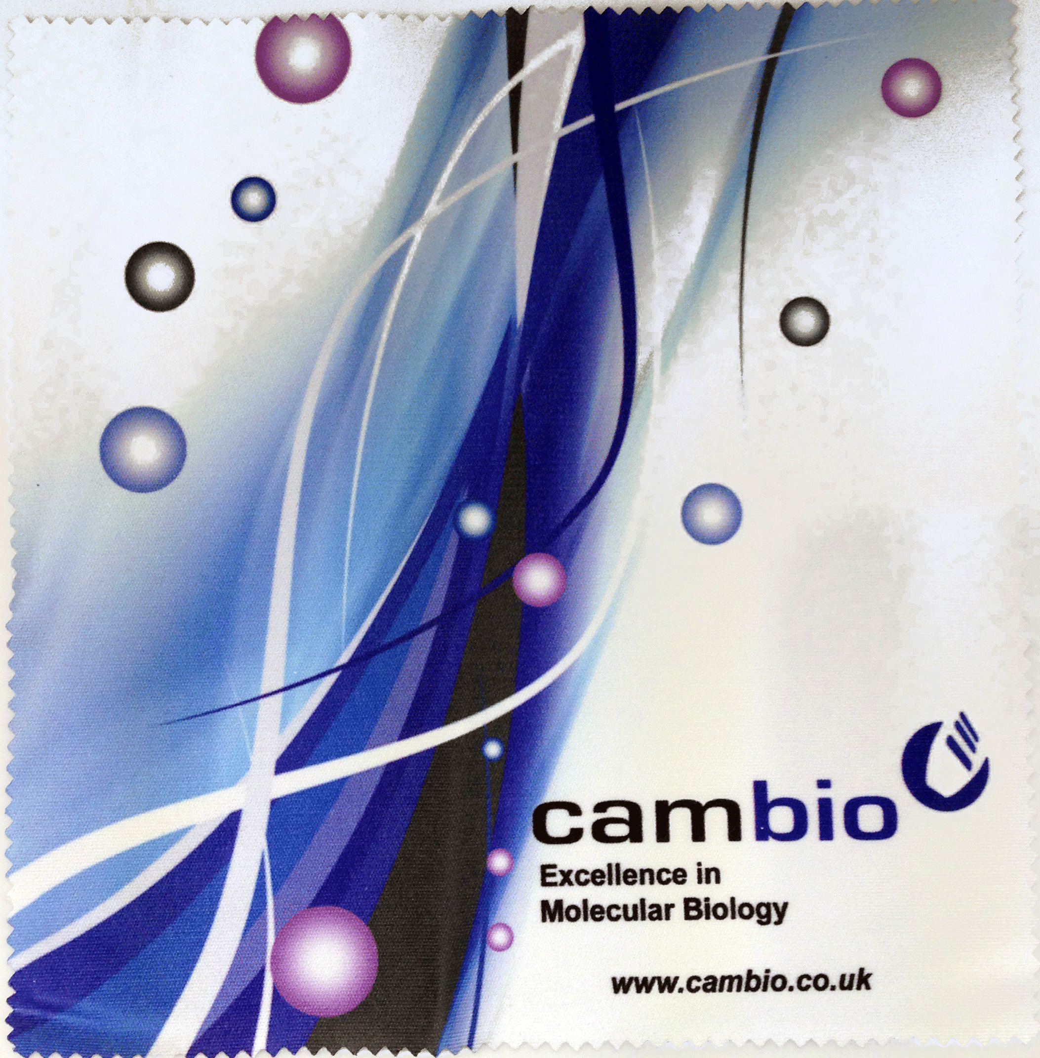 A science company using promotional microfibre cloths