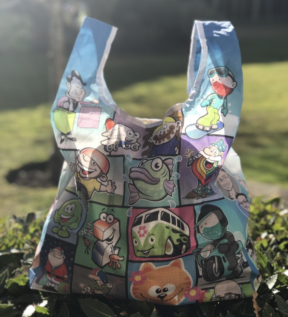 Bag printed all over in CYMK full colour with colour matched pouch