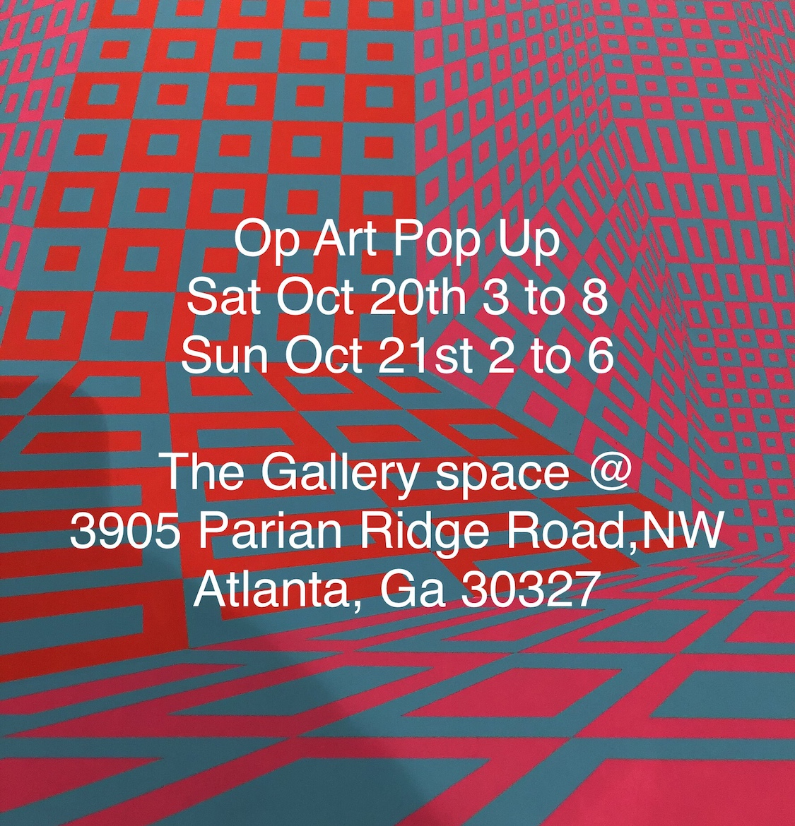 Click on image for more info on our upcoming Op Art Pop Up.