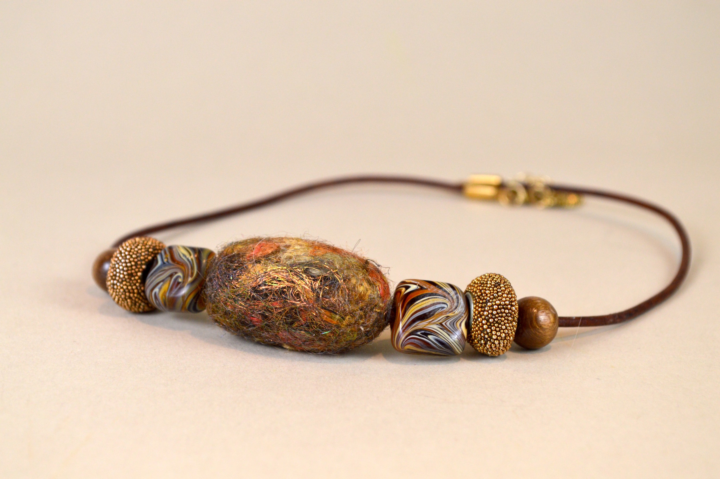 Felt, Brass & Glass Necklace