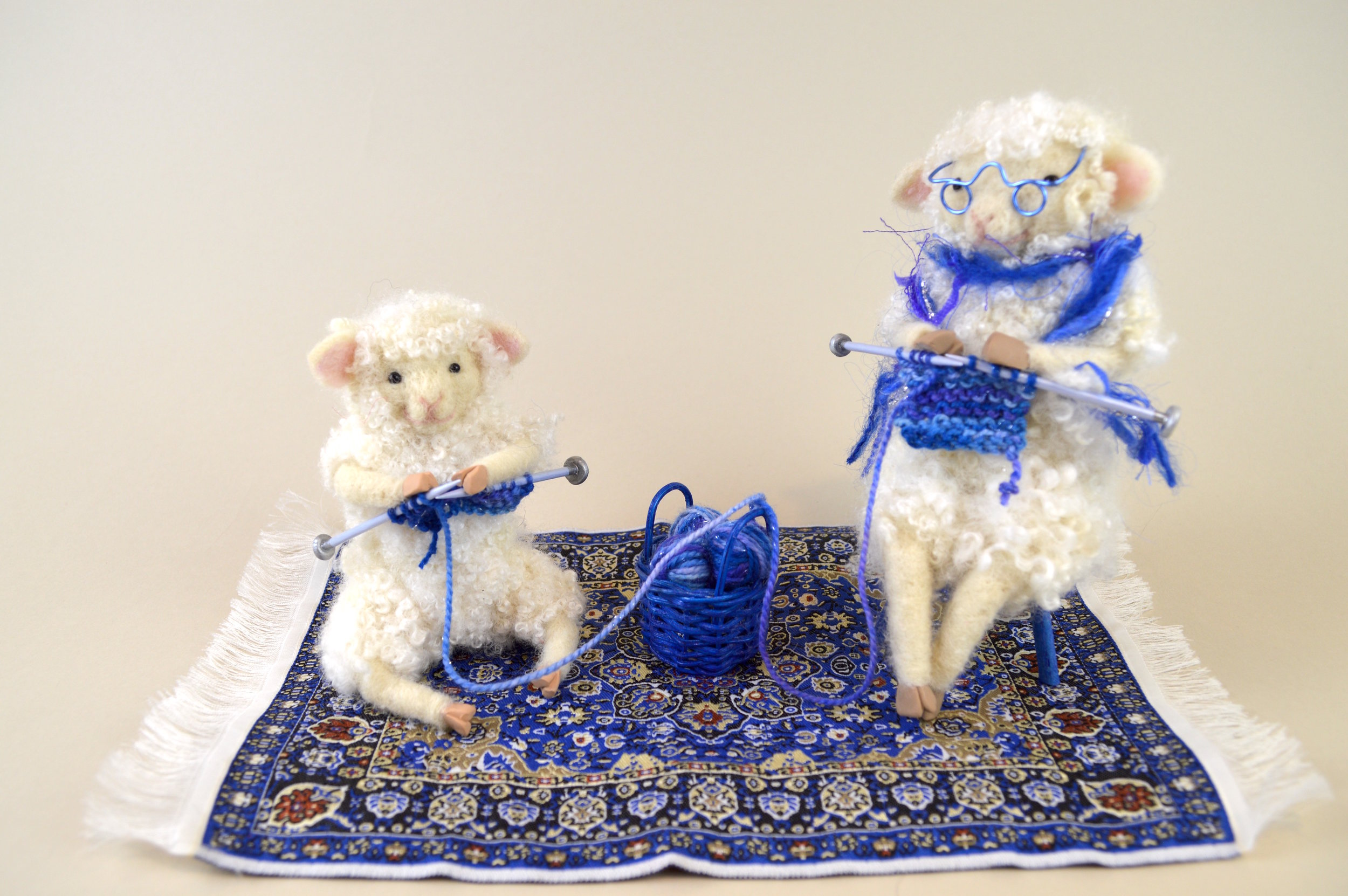 The Knitting Lesson (in Blue)