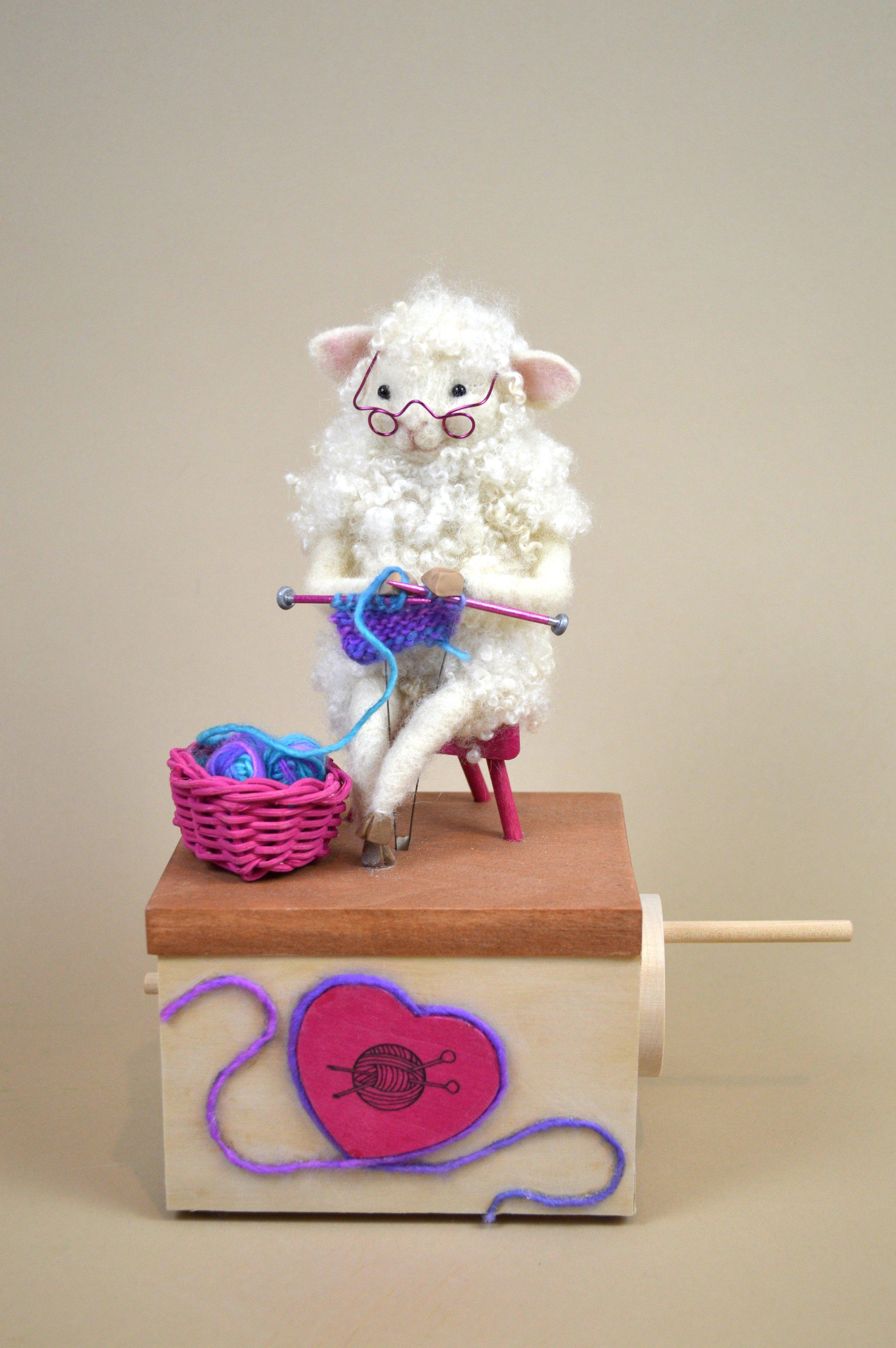 Knitting Sheep Automaton in Purple.JPG